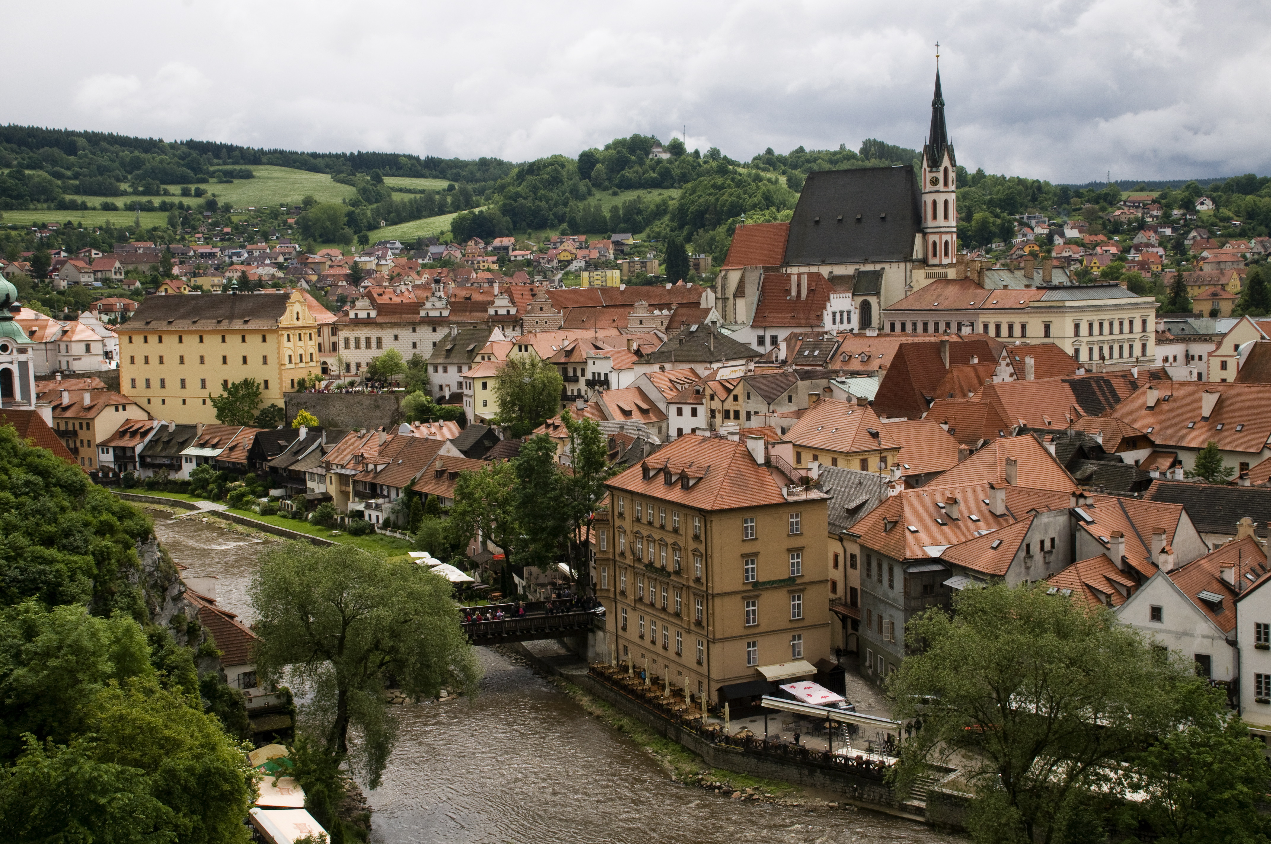 Skyline of Cesky Krumlov, Czech Republic, from the Castle