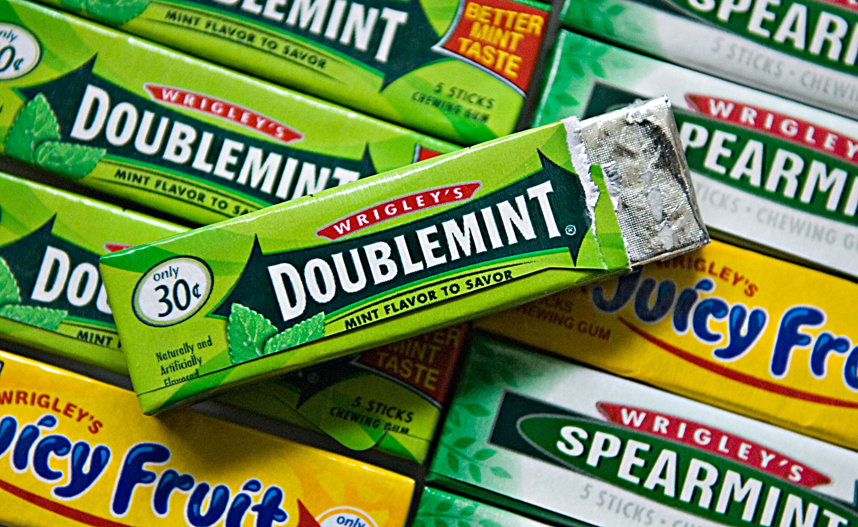Packs of Wrigley chewing gum are displayed in Westerville, O