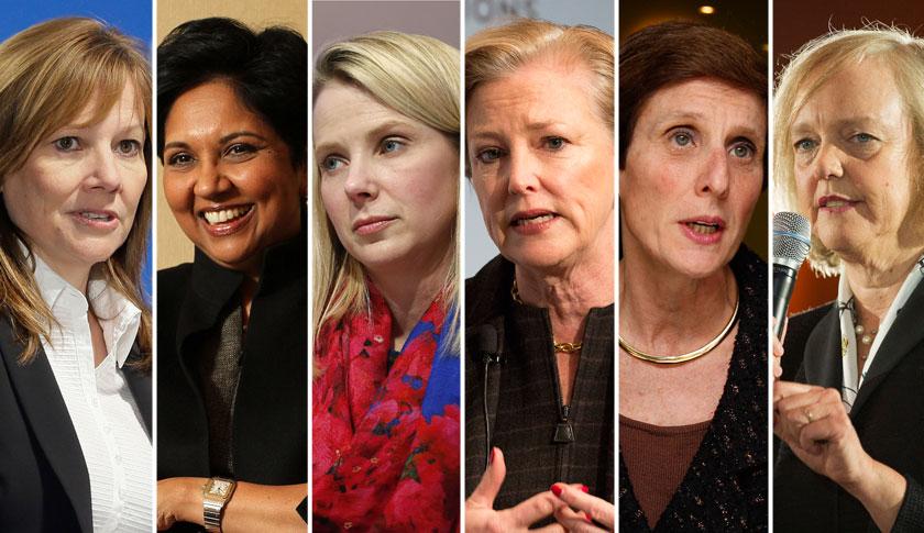 GM's Mary Barra, left, Pepsi's Indra Nooyi, Yahoo's Marissa Mayer, DuPont's Ellen Kullman, Mondelez's Irene Rosenfeld and HP's Meg Whitman