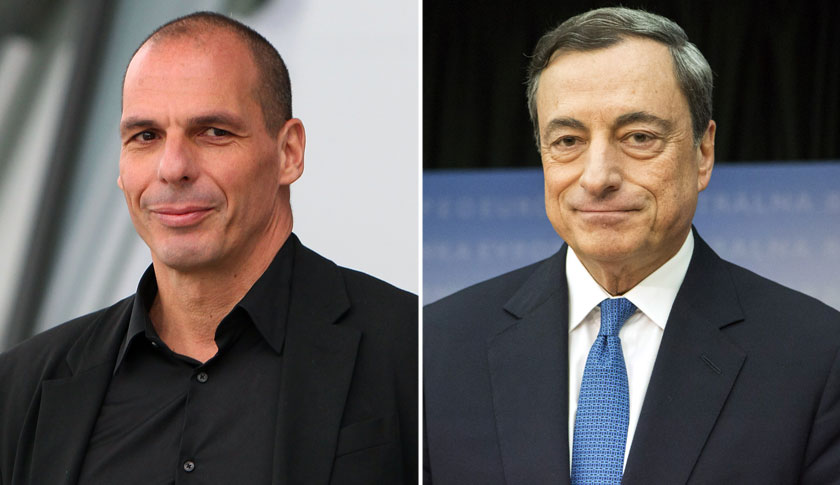 Greek Finance Minister Yanis Varoufakis, left and President Mario Draghi.