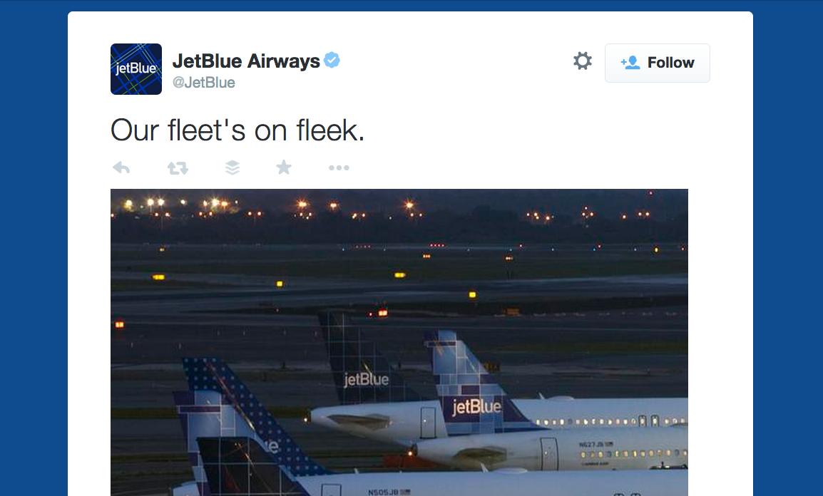 JetBlue on fleek tweet