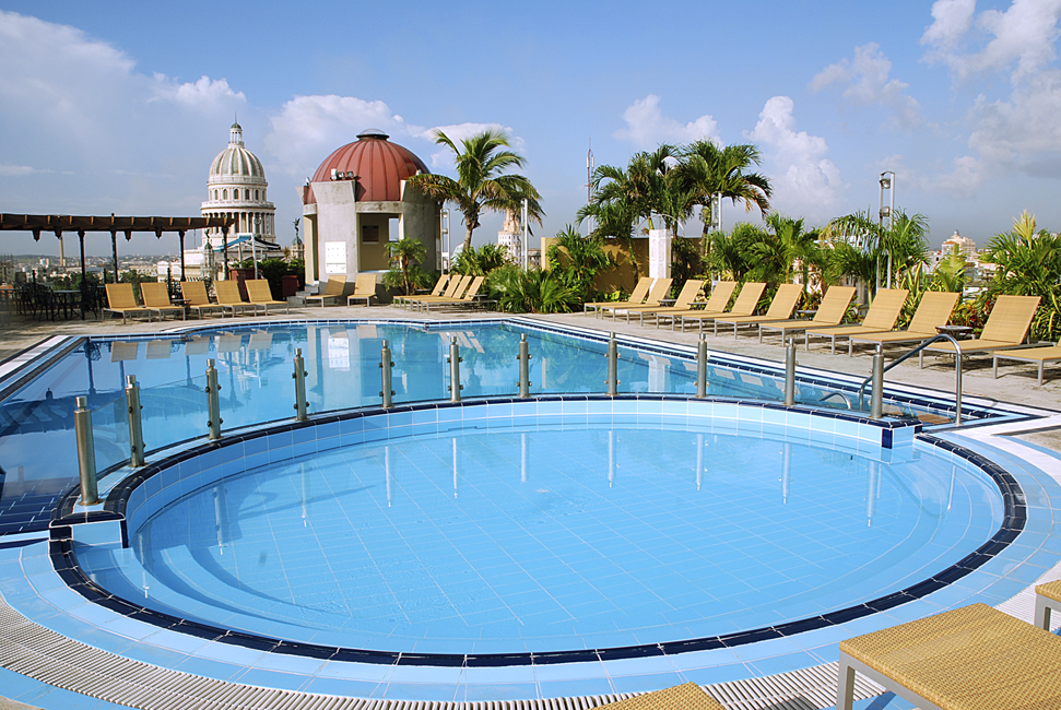 The rooftop pool at the Iberostar Parque Central hotel in Havana