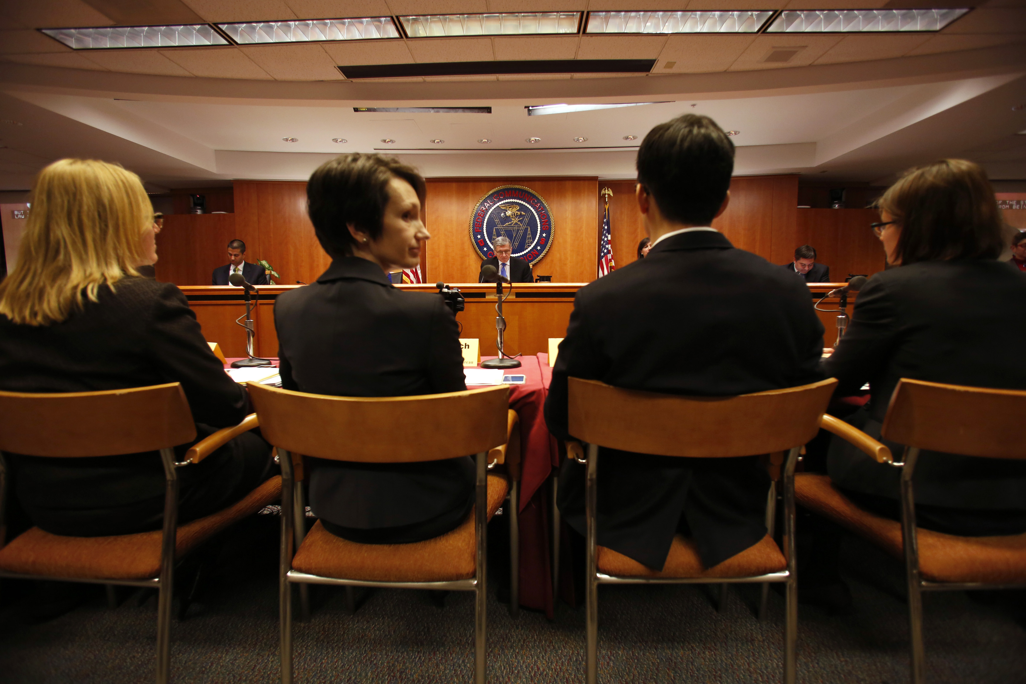 The Federal Communications Commission (FCC) holds a hearing in Washington