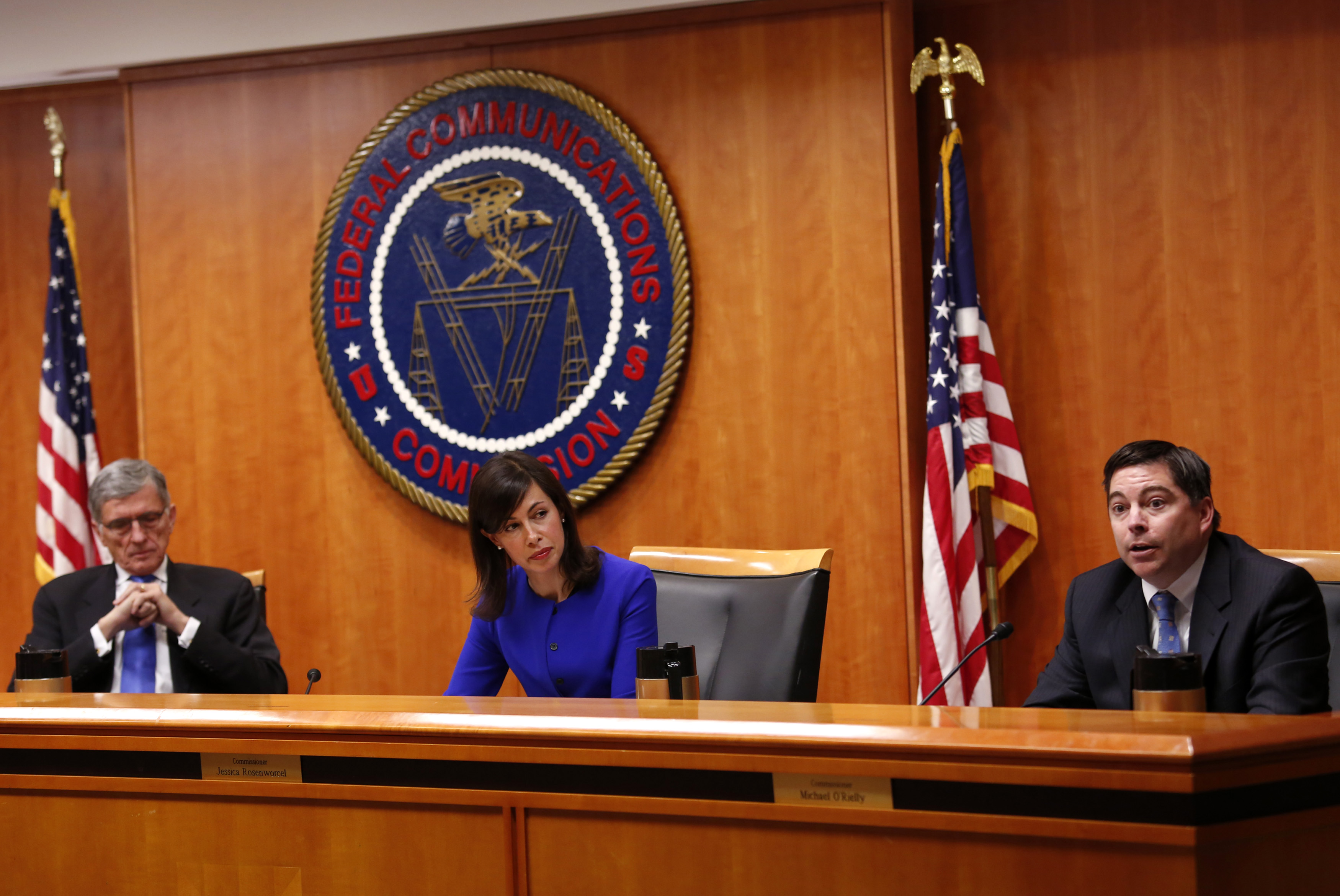 Federal Communications Commission commissioner Michael O'Rielly speaks at a FCC Net Neutrality hearing in Washington
