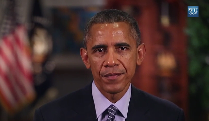 Barack Obama during his speech to the 2015 Grammy Awards audience.