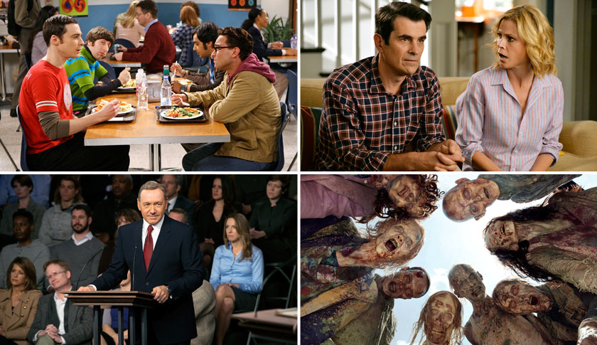 Clockwise from upper left corner: Big Bang Theory, Modern Family, House of Cards, The Walking Dead
