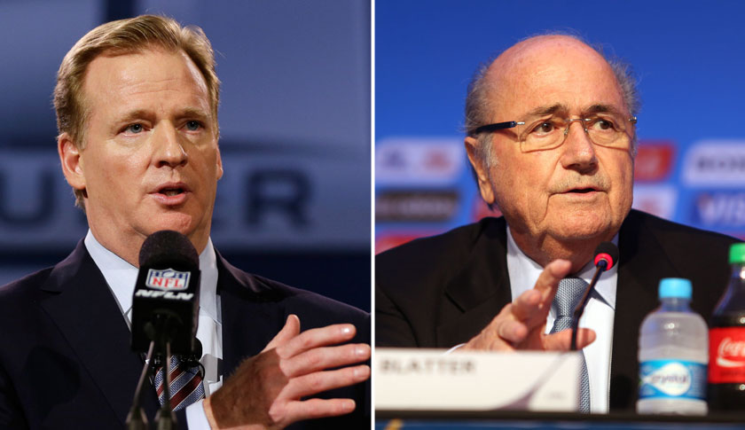 Roger Goodell, NFL commissioner, left and Sepp Blatter, FIFA president.