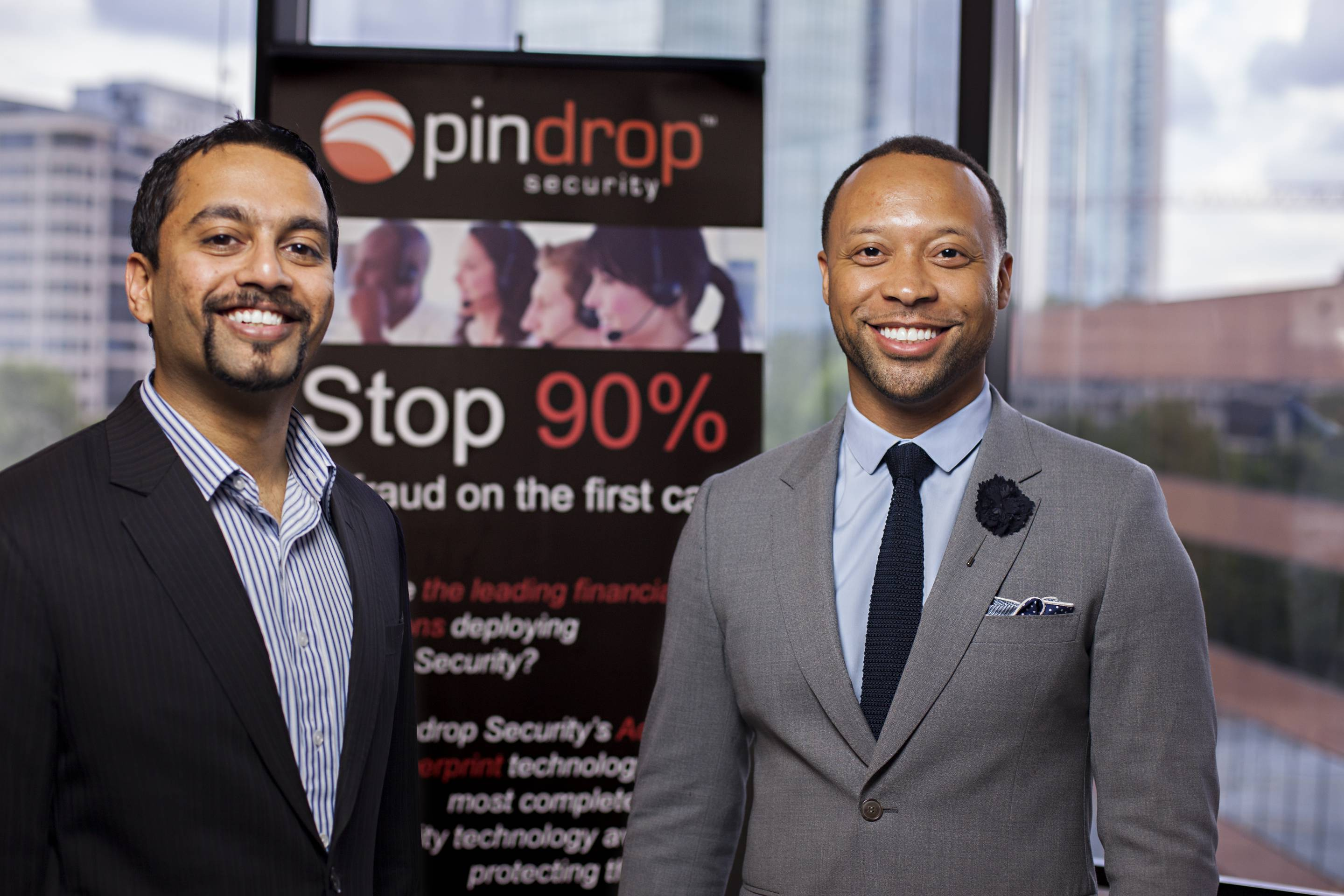 CEO of Pindrop Security Vijay Balasubramaniyan, left, and Executive Chairman Paul Judge.