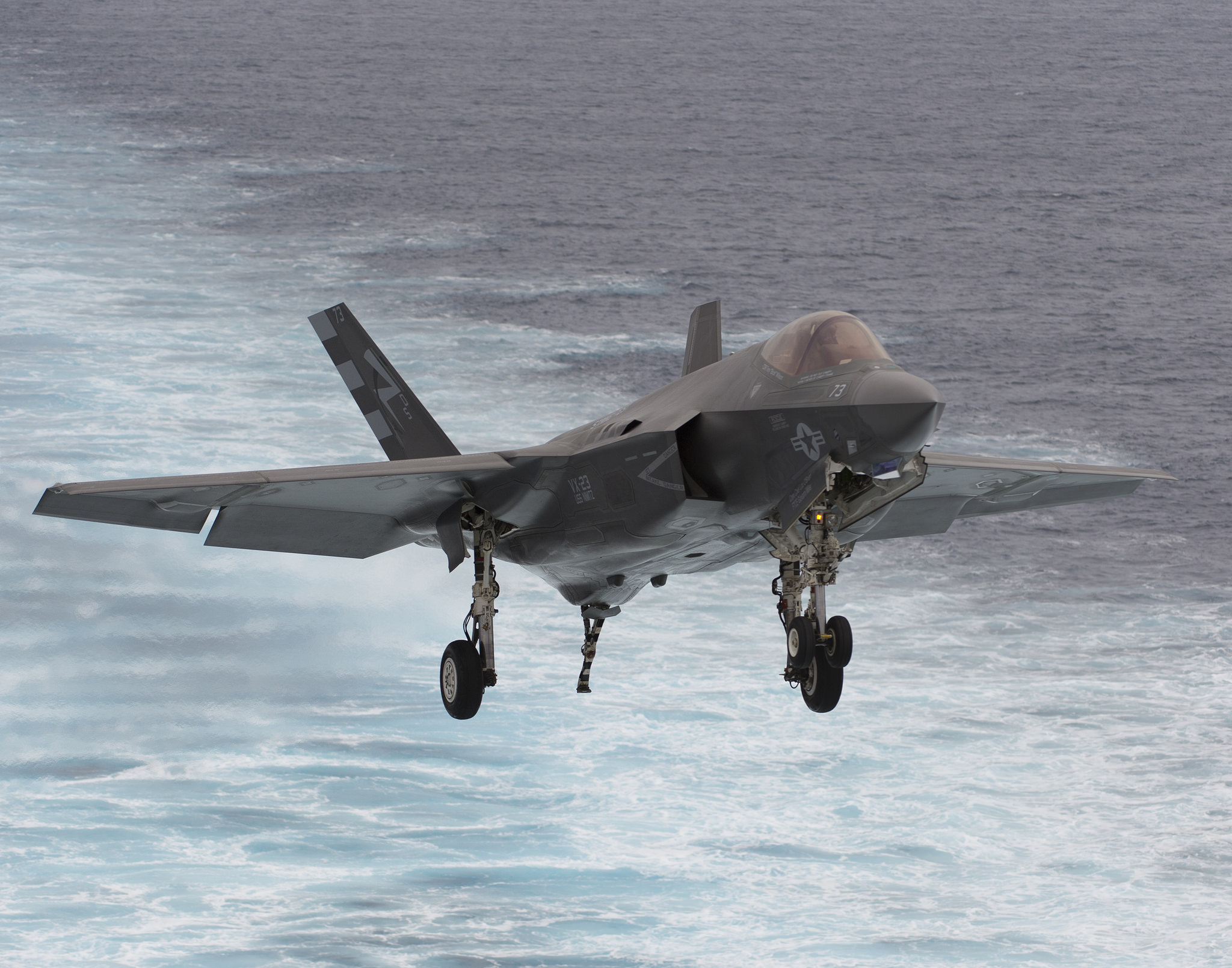 The F-35C during sea trials, landing aboard the aircraft carrier USS Nimitz on November 12, 2014.