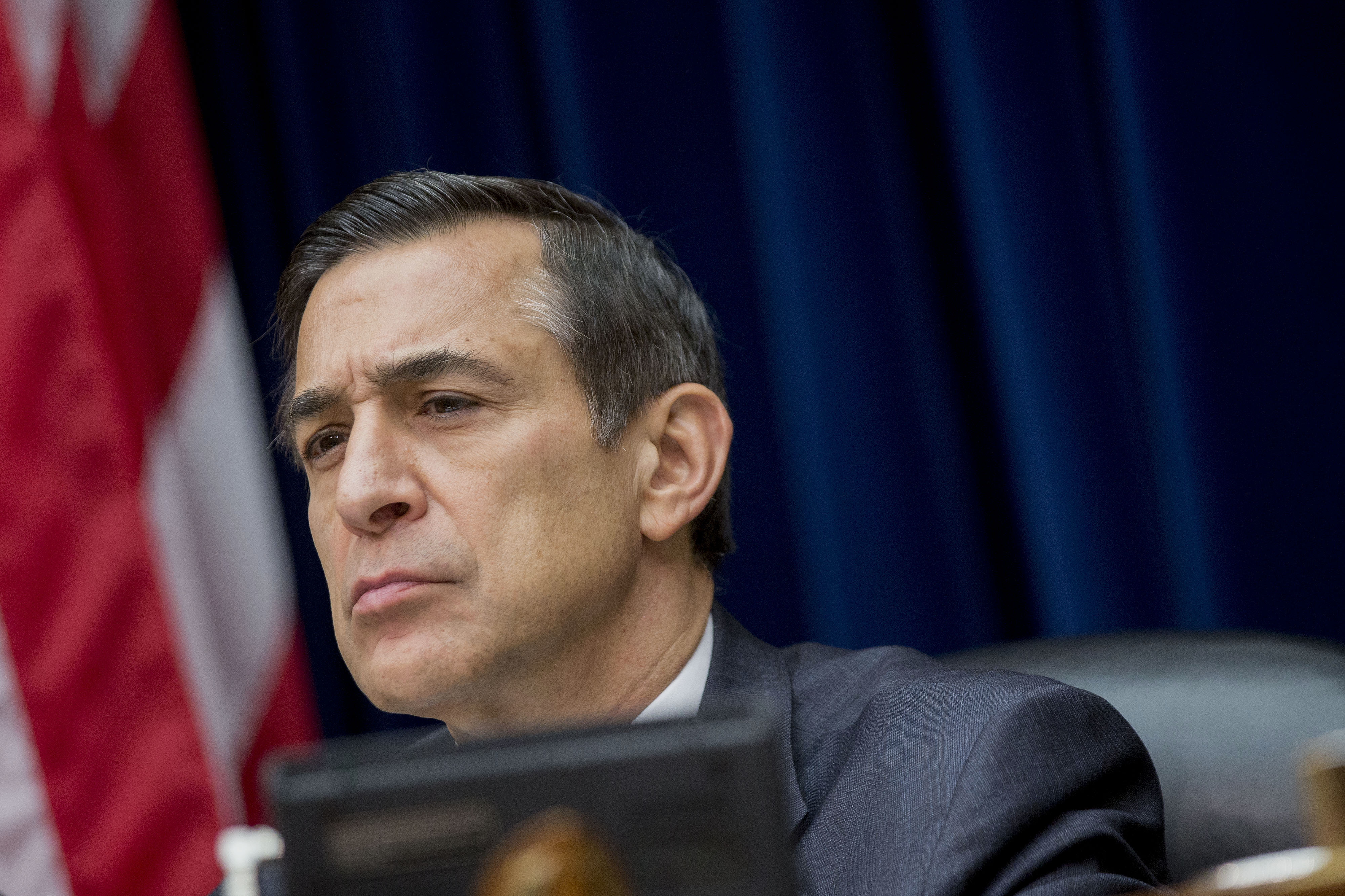 Representative Darrell Issa, a Republican from California and chairman of the House Oversight Committee, listens during a hearing with Jonathan Gruber, professor at Massachusetts Institute of Technology, not pictured, during a House Oversight Committee hearing in Washington, D.C., U.S., on Tuesday, Dec. 9, 2014. Gruber, the economist whose remarks on Obamacare have drawn criticism from Republicans, apologized to lawmakers for being Òglib, thoughtless and sometimes downright insulting.Ó Photographer: Andrew Harrer/Bloomberg *** Local Caption *** Darrell Issa
