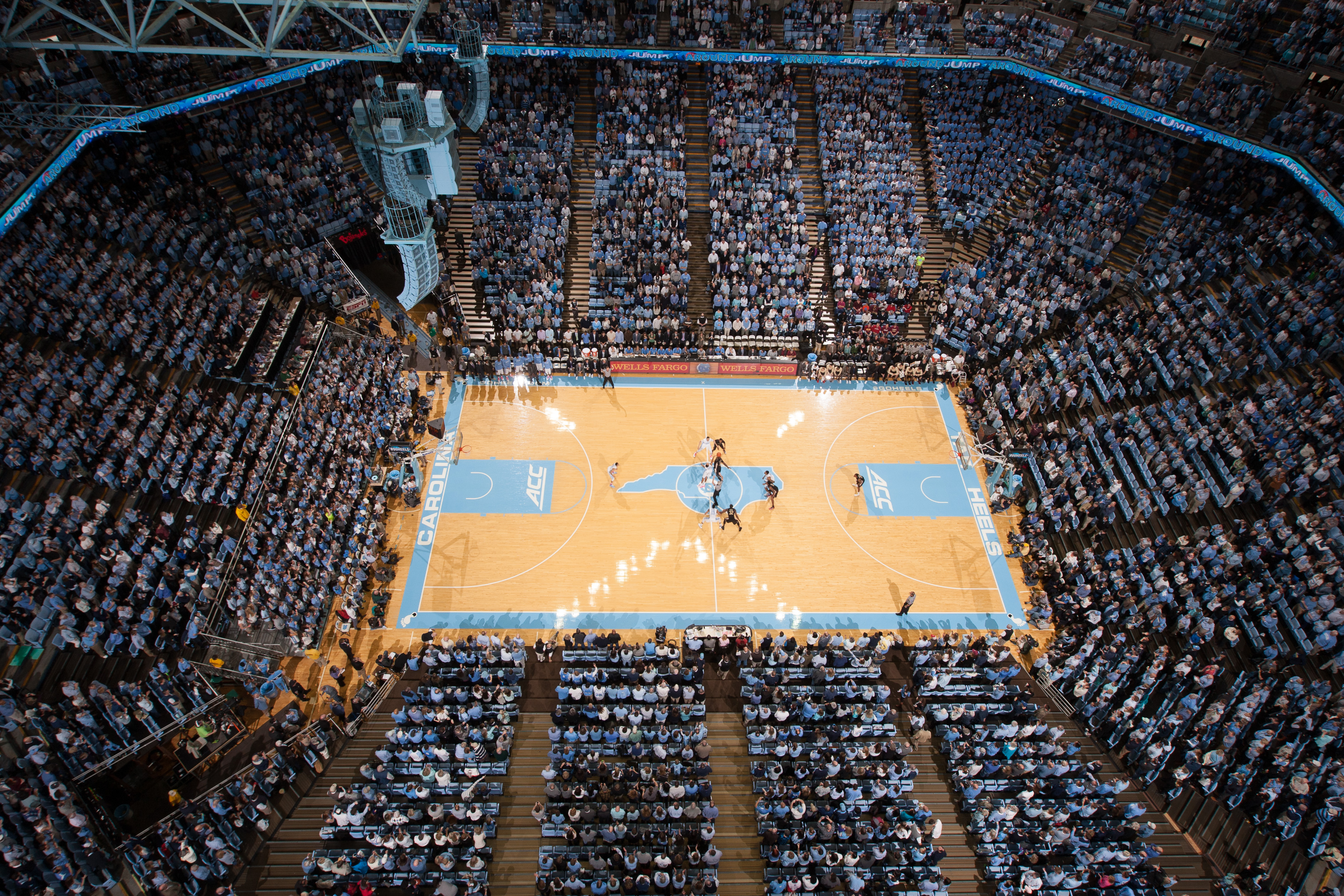 CHAPEL HILL, NC - JANUARY 24: A wide-angle overhead general view of the Dean Smith Center as the North Carolina Tar Heels play against the Florida State Seminoles on January 24, 2015 at the Dean E. Smith Center in Chapel Hill, North Carolina. North Carolina won 78-74. (Photo by Peyton Williams/UNC/Getty Images)