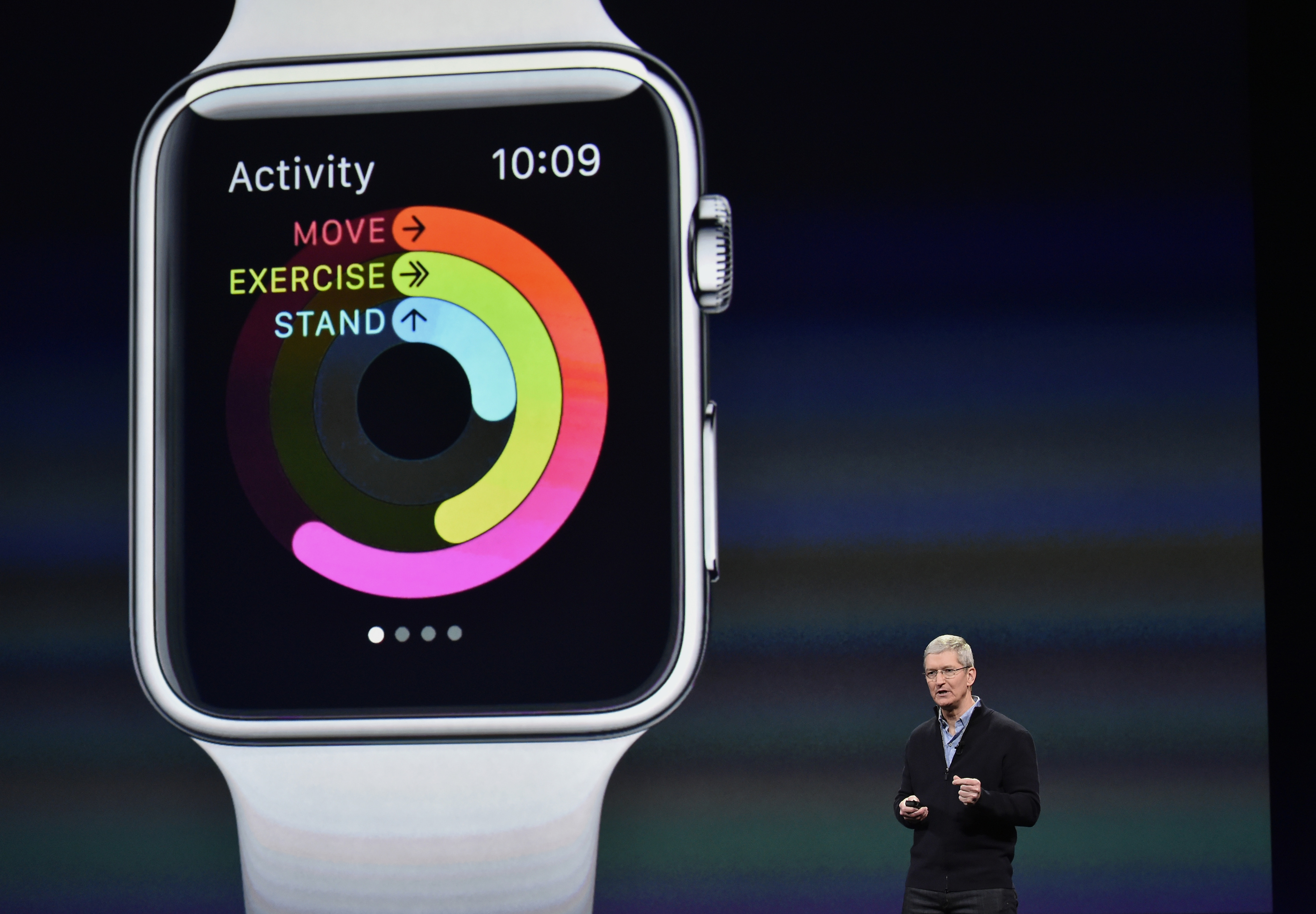 Tim Cook, chief executive officer of Apple Inc., speaks during the Apple Inc. Spring Forward event in San Francisco, California, on March 9, 2015.