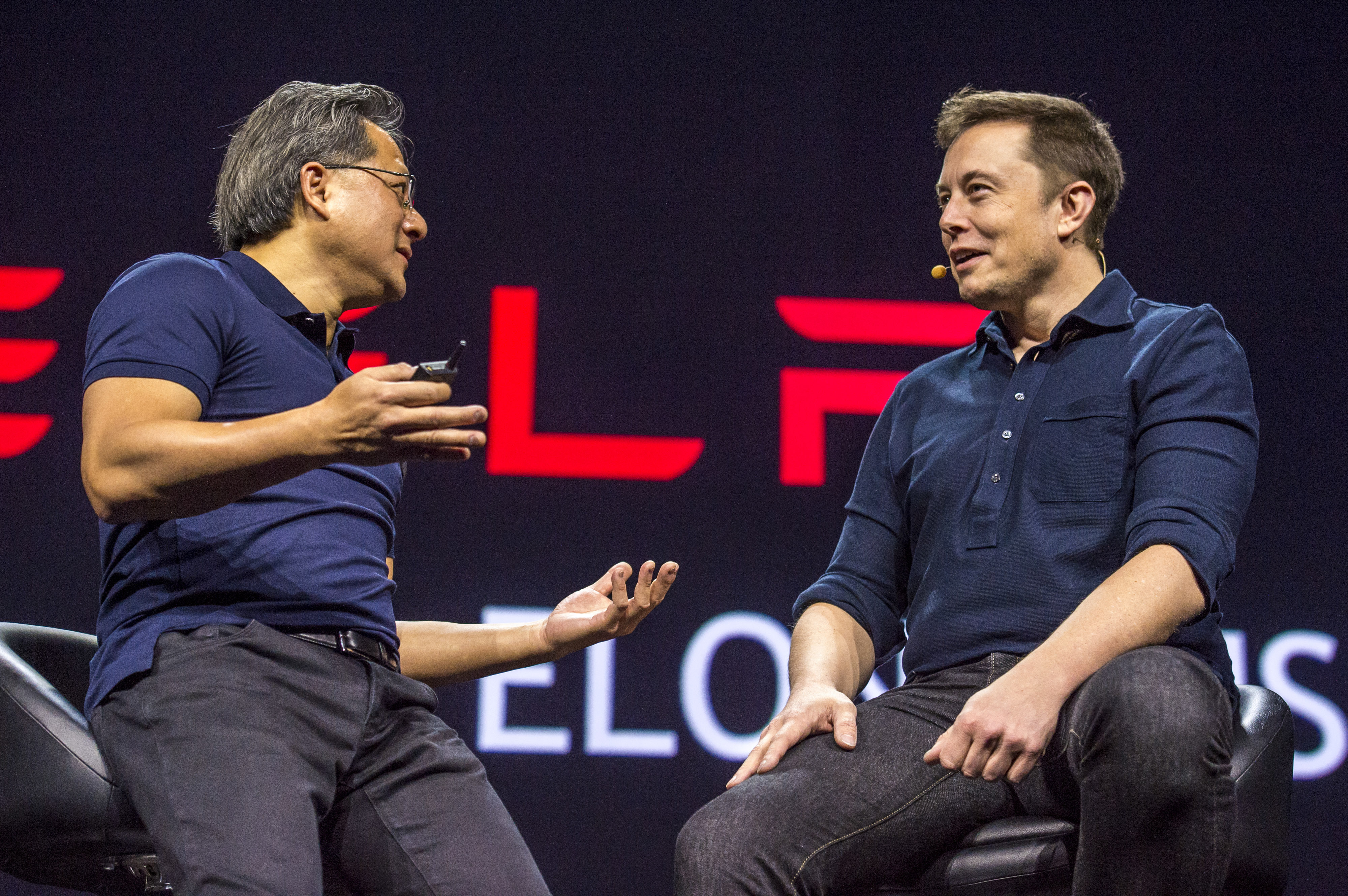 Tesla Motors Inc. CEO Elon Musk and Nvidia Corp. Chief Executive Officer Jen-Hsun Huang Speak At GPU Technology Conference