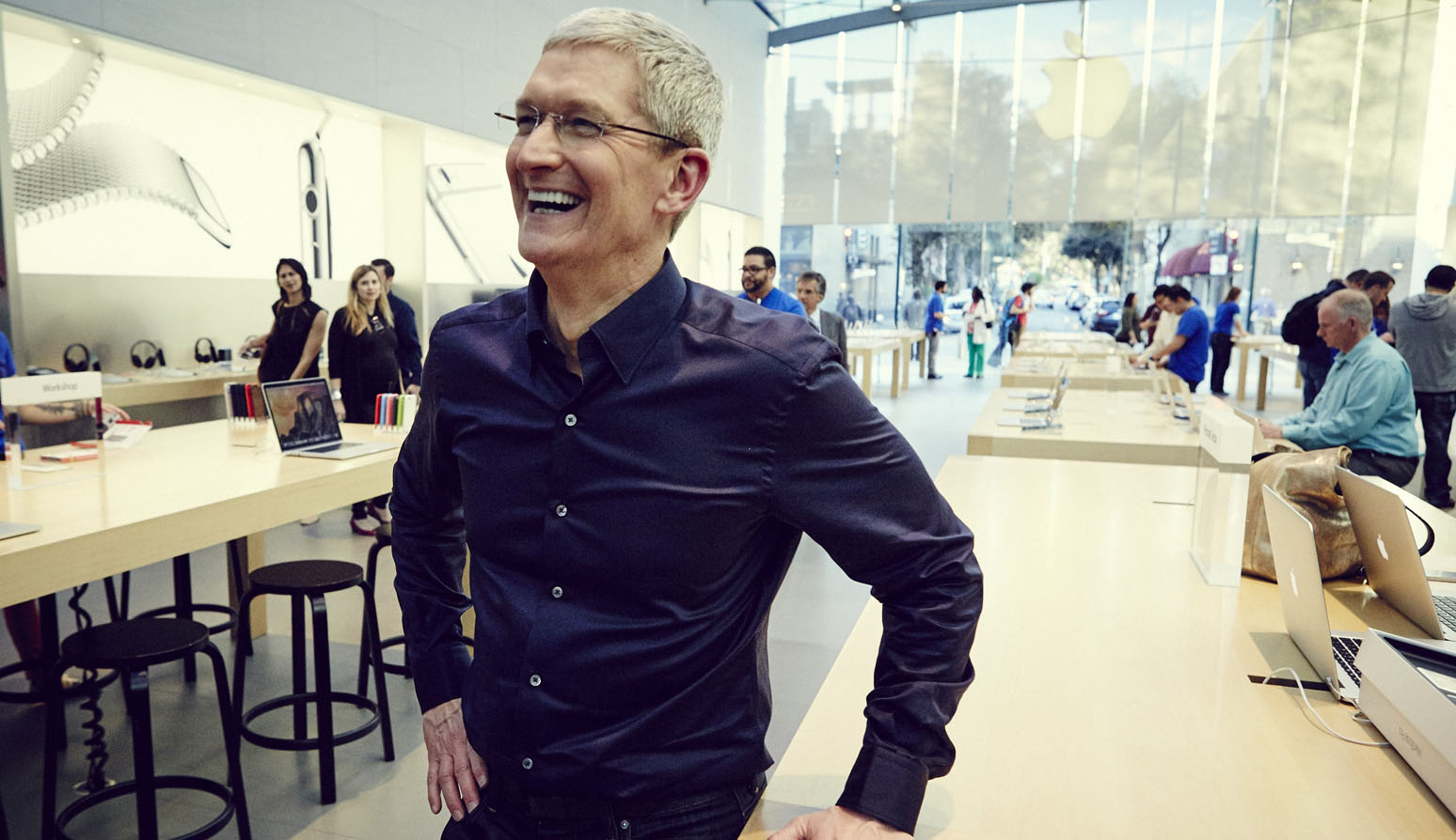 Cook in an Apple Store in Palo Alto.