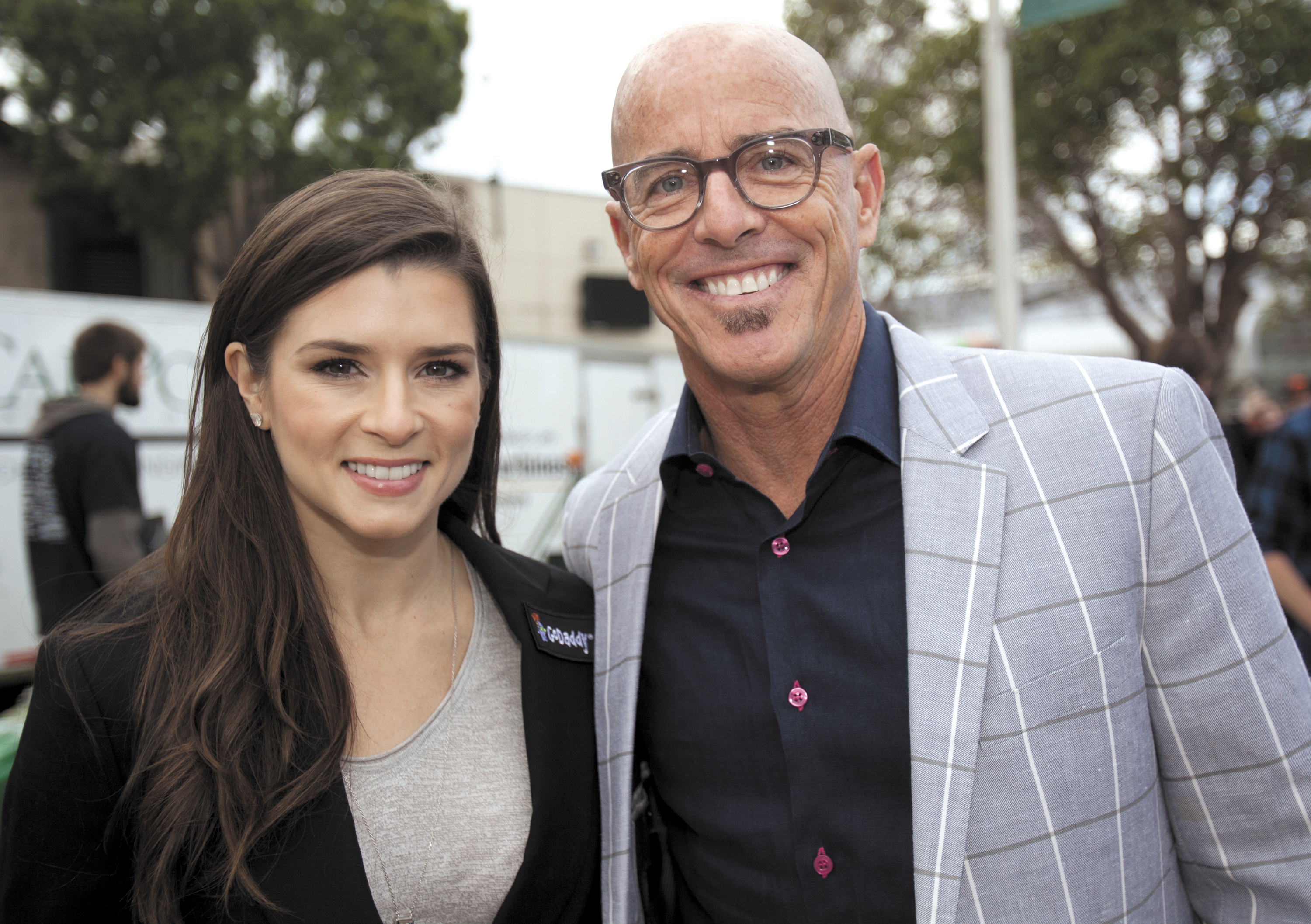 Danica Patrick, race car driver, and spokeswoman for GO Daddy, with Blake Irving, CEO of GoDaddy.