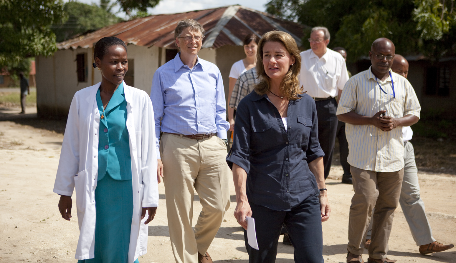 Bill and Melinda Gates speak with, Neema Malachi Najwale, nurse in charge at the Mapinga Dispensary in Tanzania on June 24, 2011.