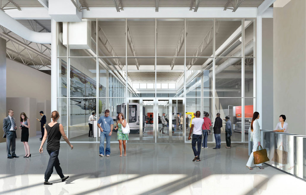 A rendering of the manufacturing floor of the new DMDII.