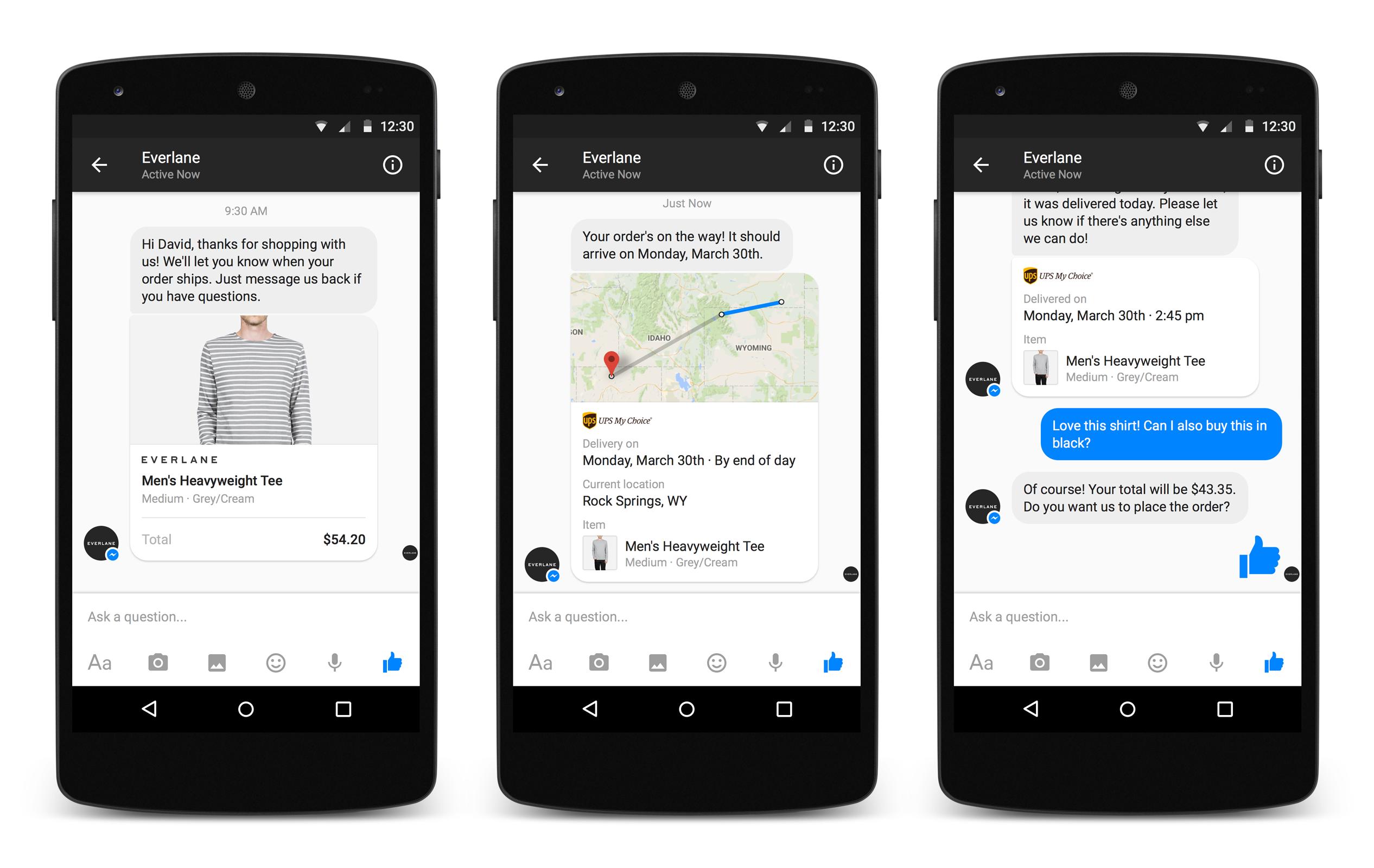 Facebook Messenger for Business conversation