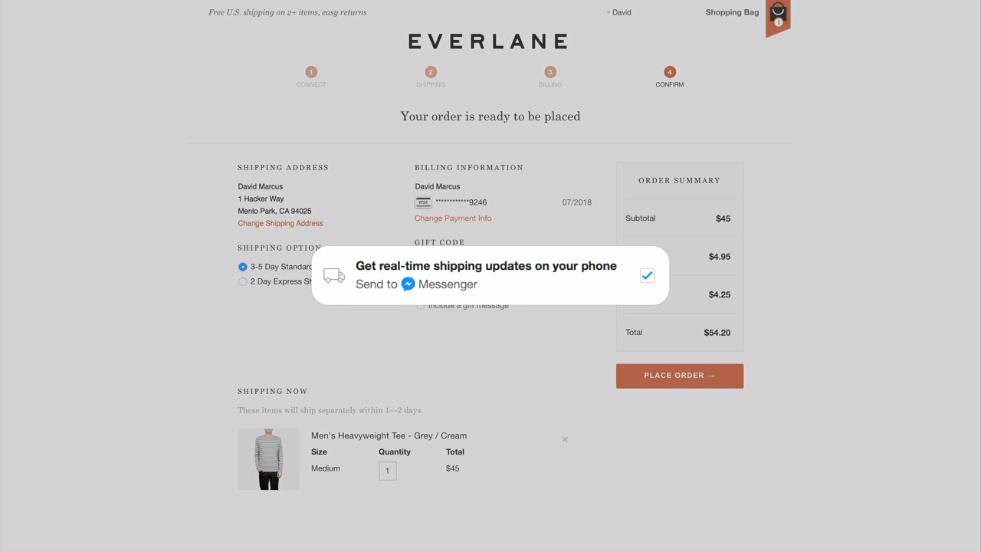 Facebook Messenger Platform Everlane