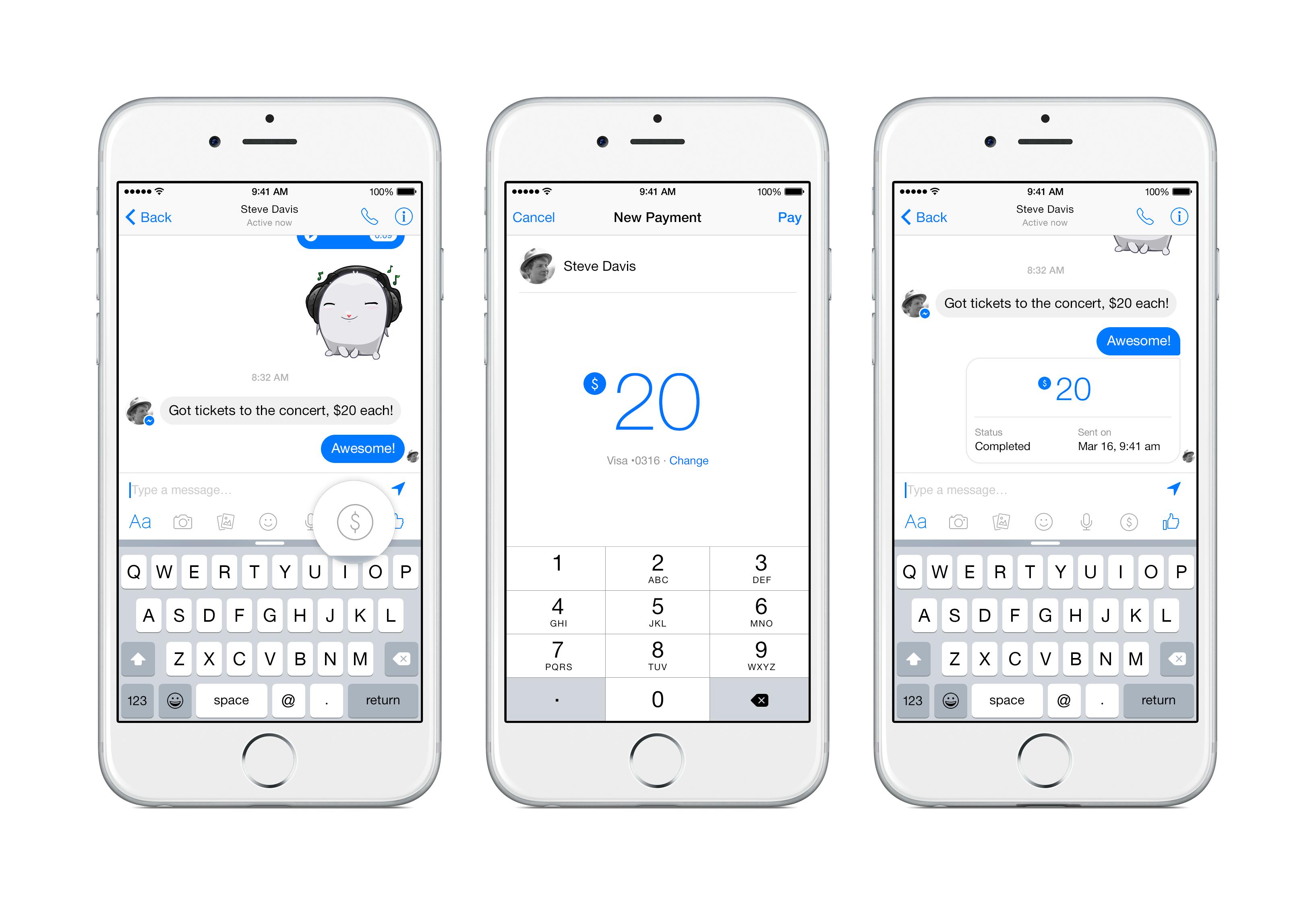 Facebook Messenger P2P payments