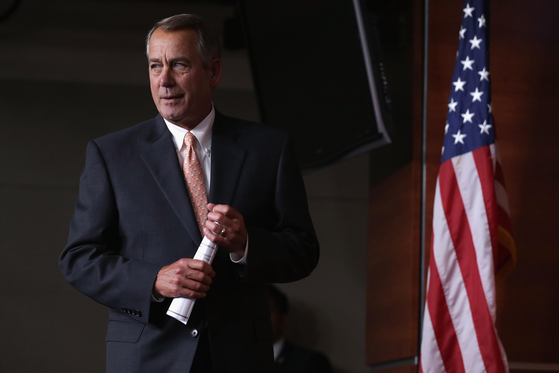 House Speaker John Boehner Holds His Weekly Media Briefing
