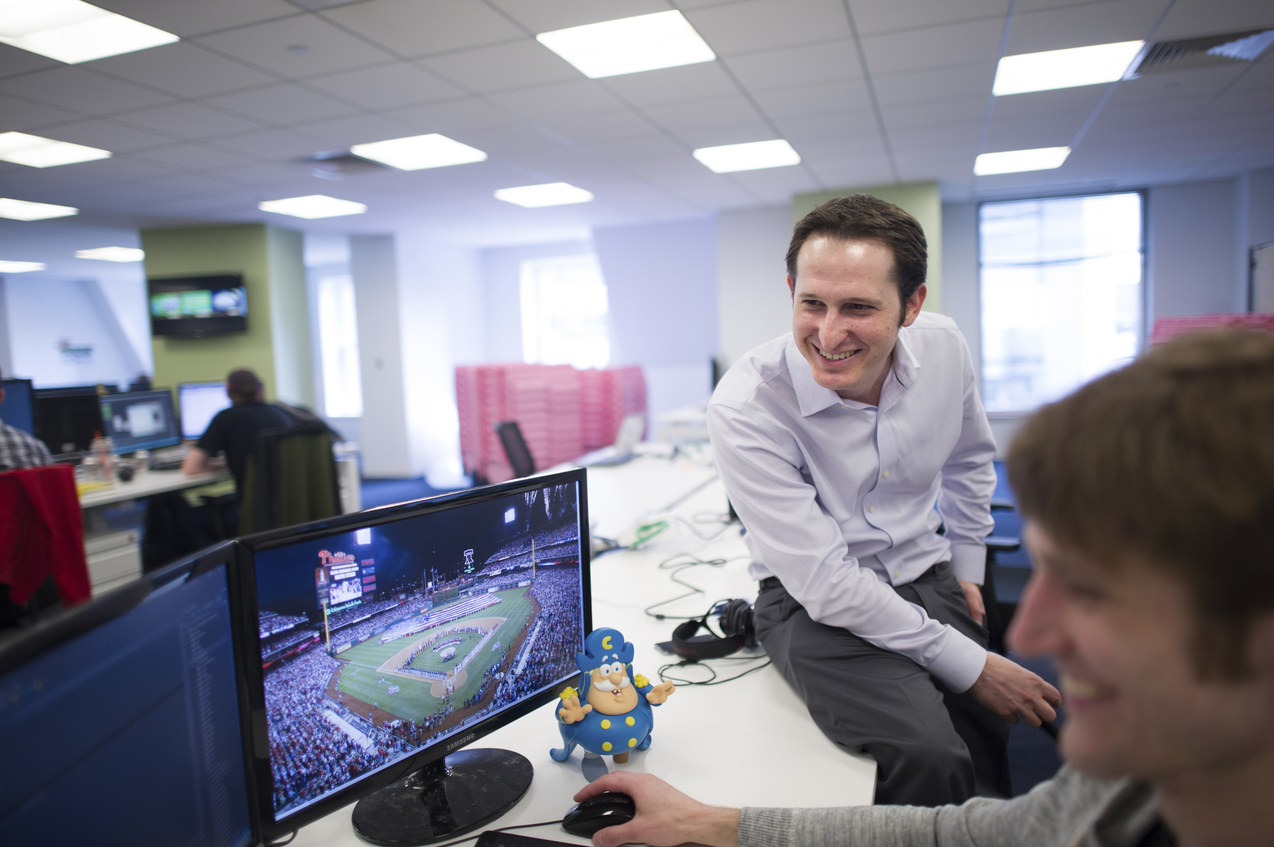 Jason Robins, one of the founders of the fantasy sports leagues site DraftKings, at offices in Boston.