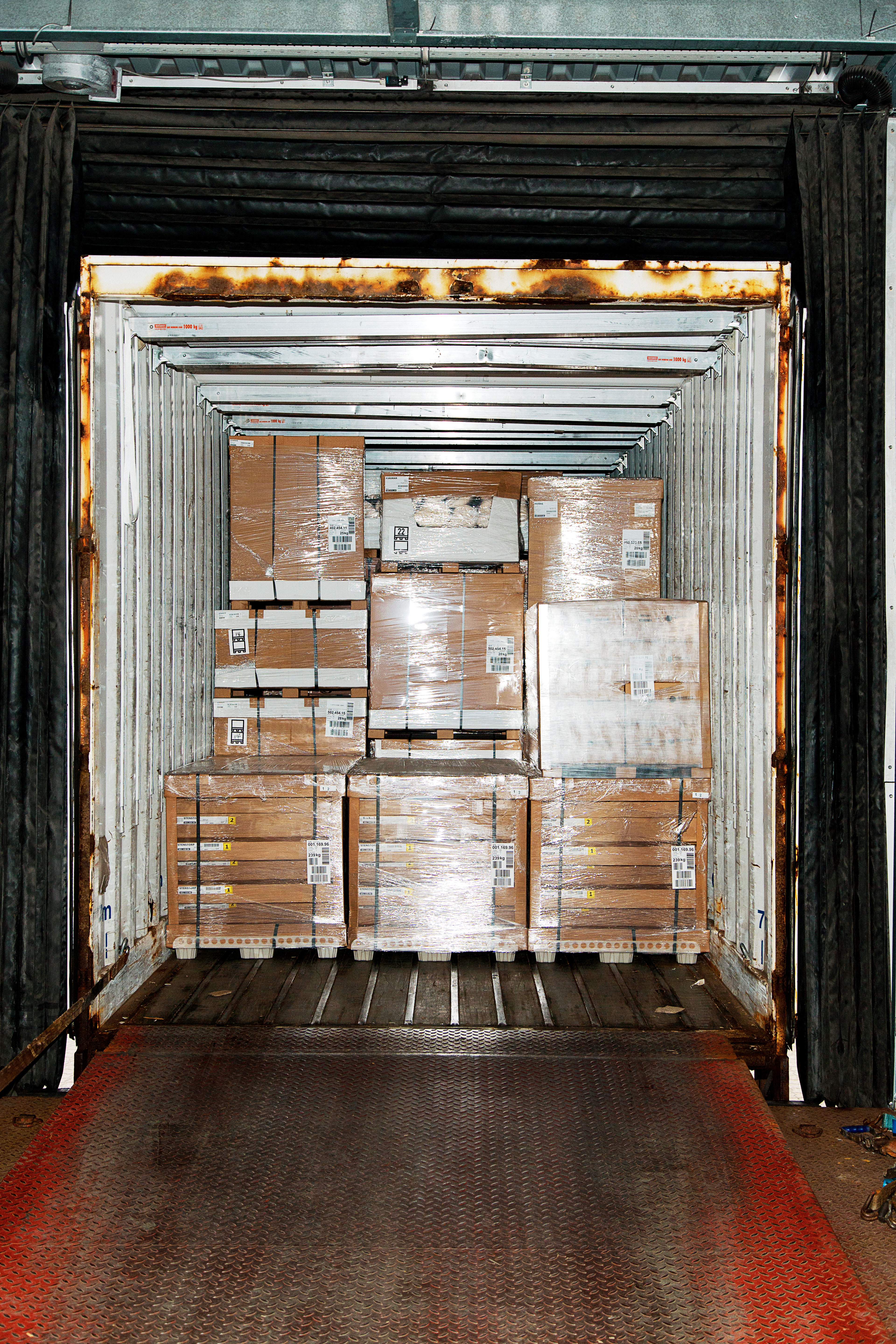 Ikea packs its trucks and shipping containers as tightly as possible to avoid shipping air.