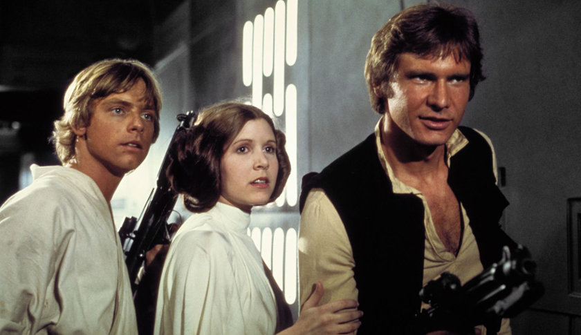 Carrie Fisher, center, as Princess Leia in 1977's 'Star Wars'