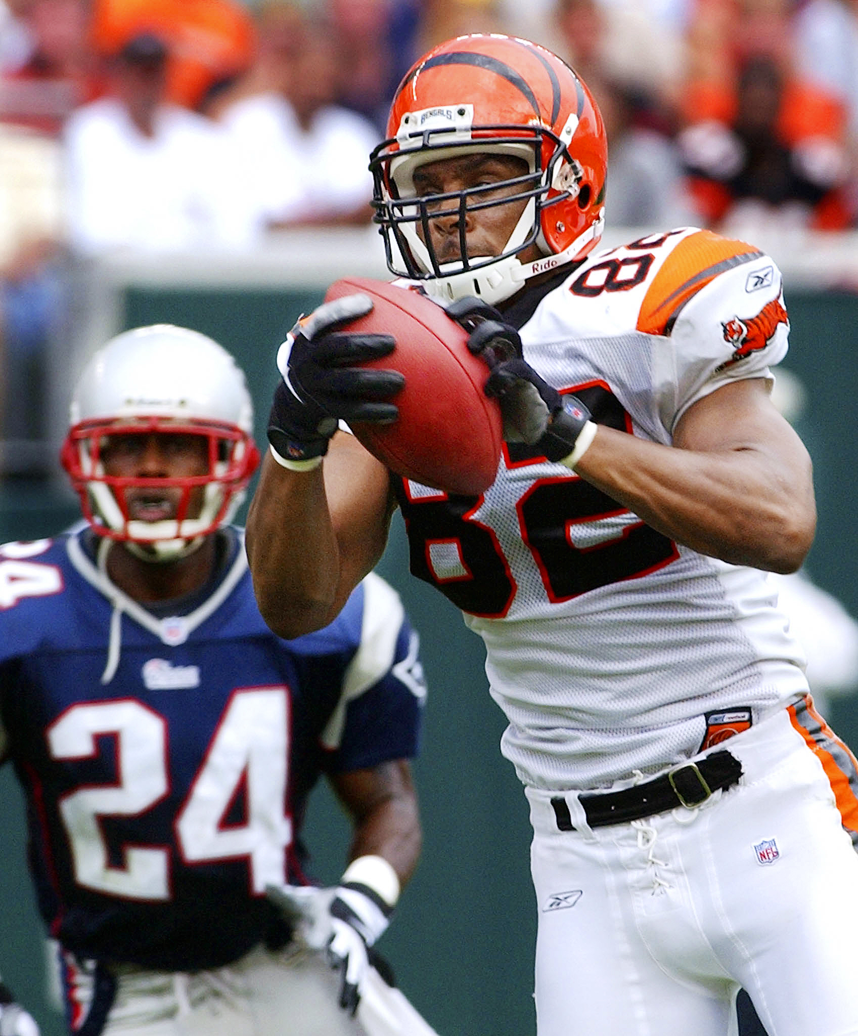 CINCINNATI BENGALS TONY MCGEE MAKES CATCH UNDER PRESSURE FROM NEW ENGLANDS TY LAW.