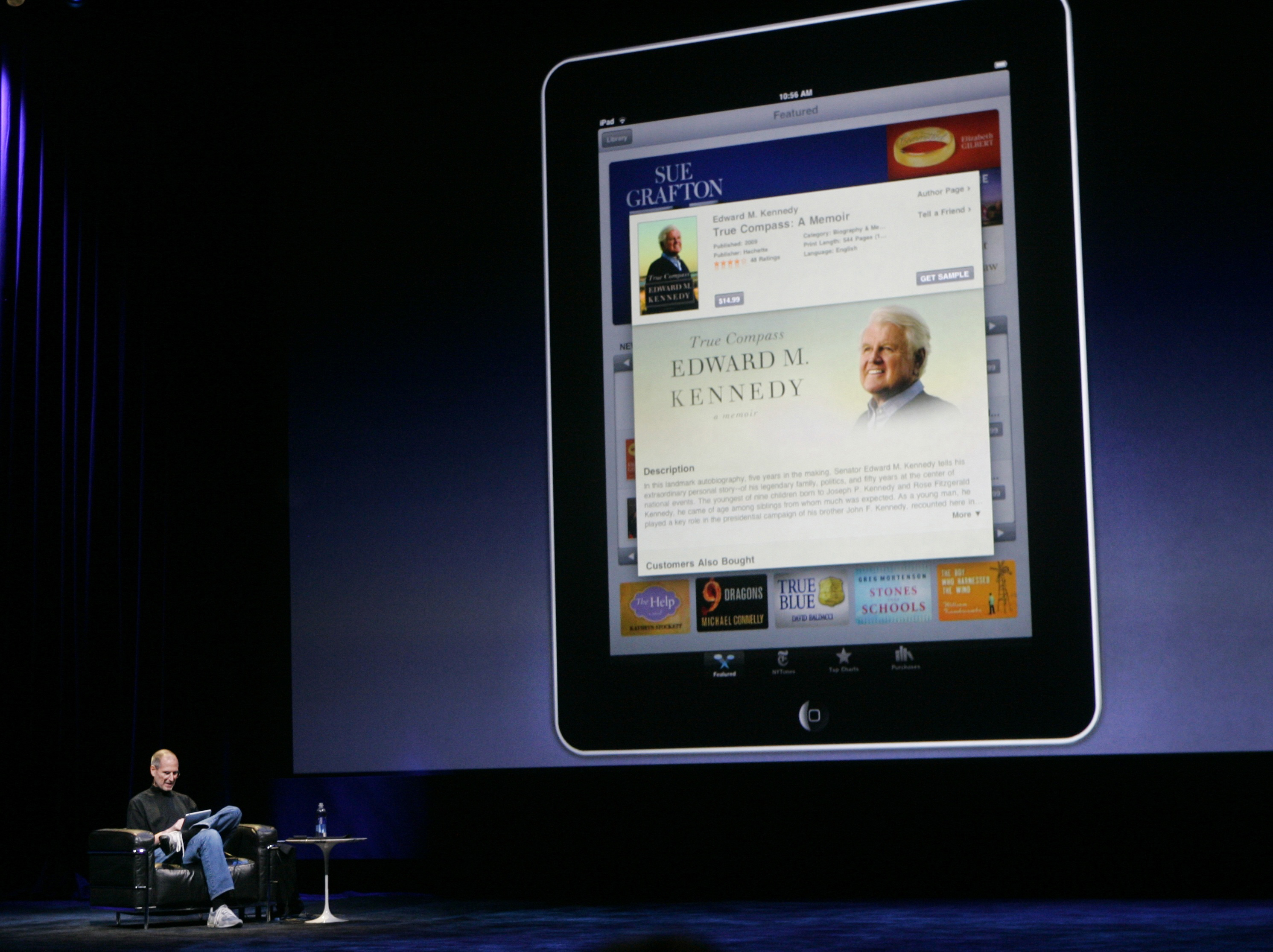 Apple CEO Jobs introduces the iBooks during the launch of Apple's new tablet iPad computing device in San Francisco