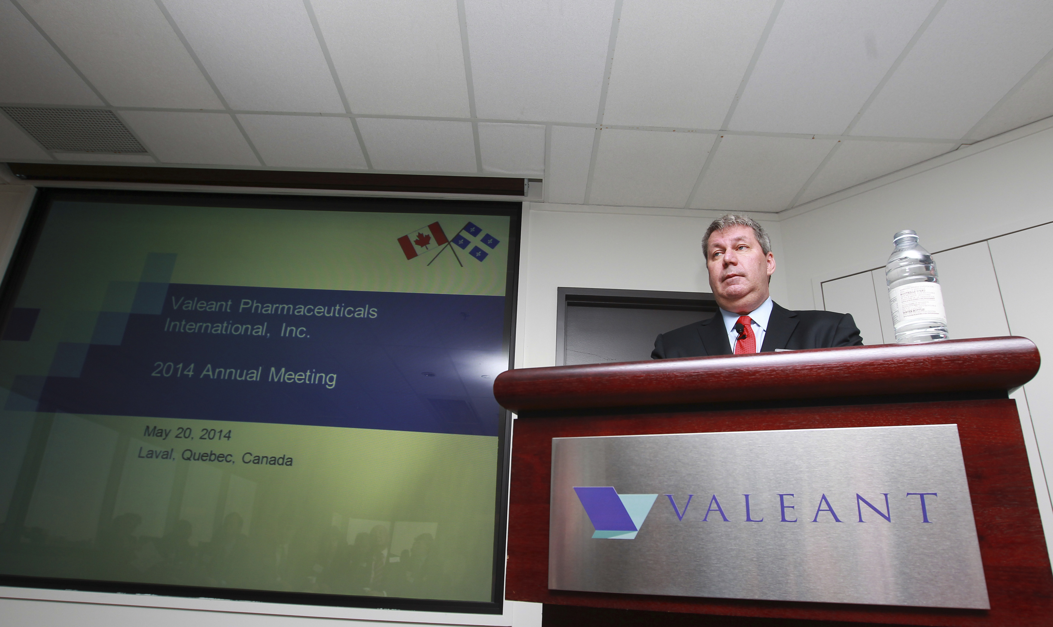 J. Michael Pearson, Chairman of the board and Chief Executive Officer of Valeant Pharmaceuticals International Inc., speaks during their annual general meeting in Laval, Quebec