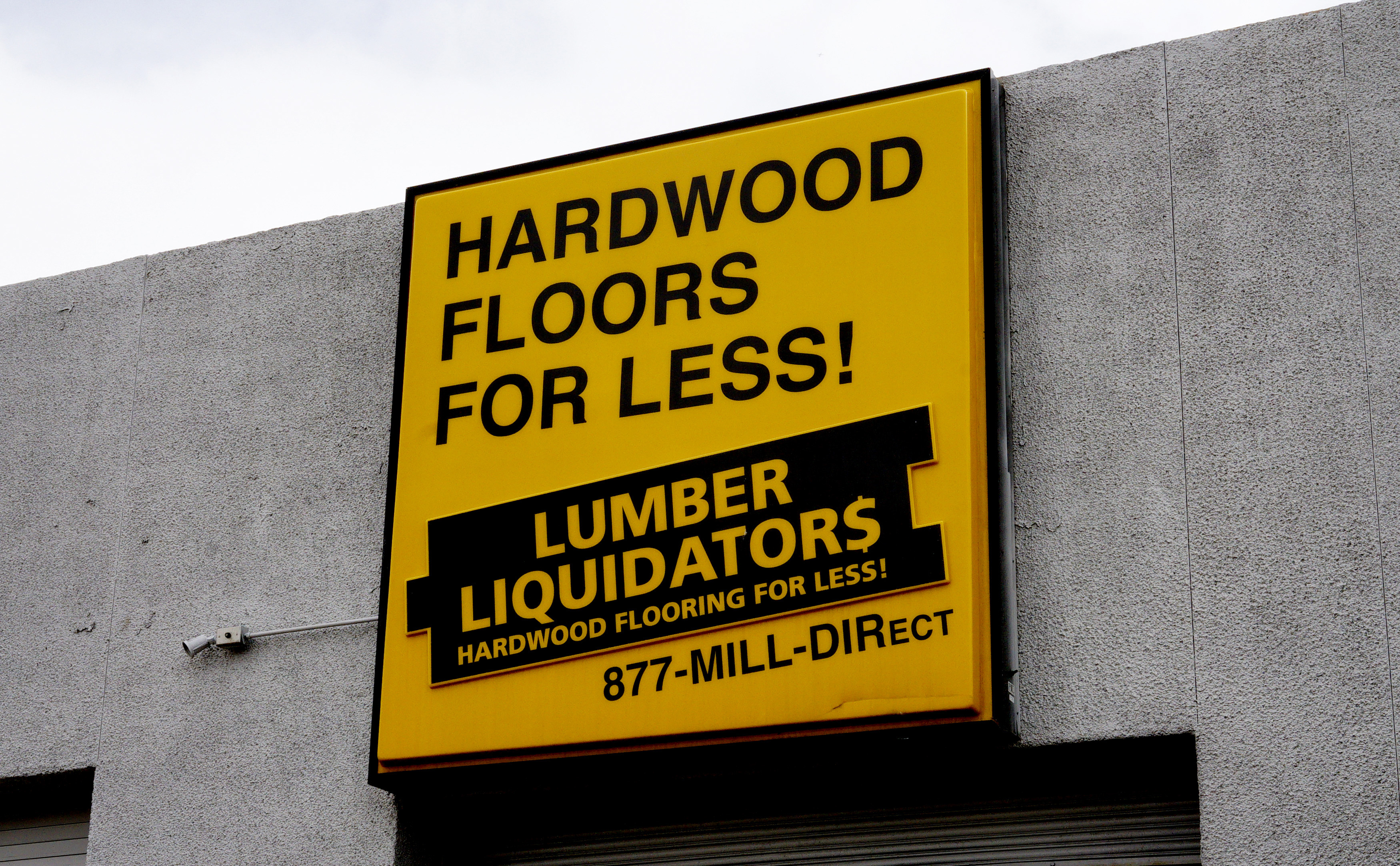 The sign outside the Lumber Liquidators store in Denver