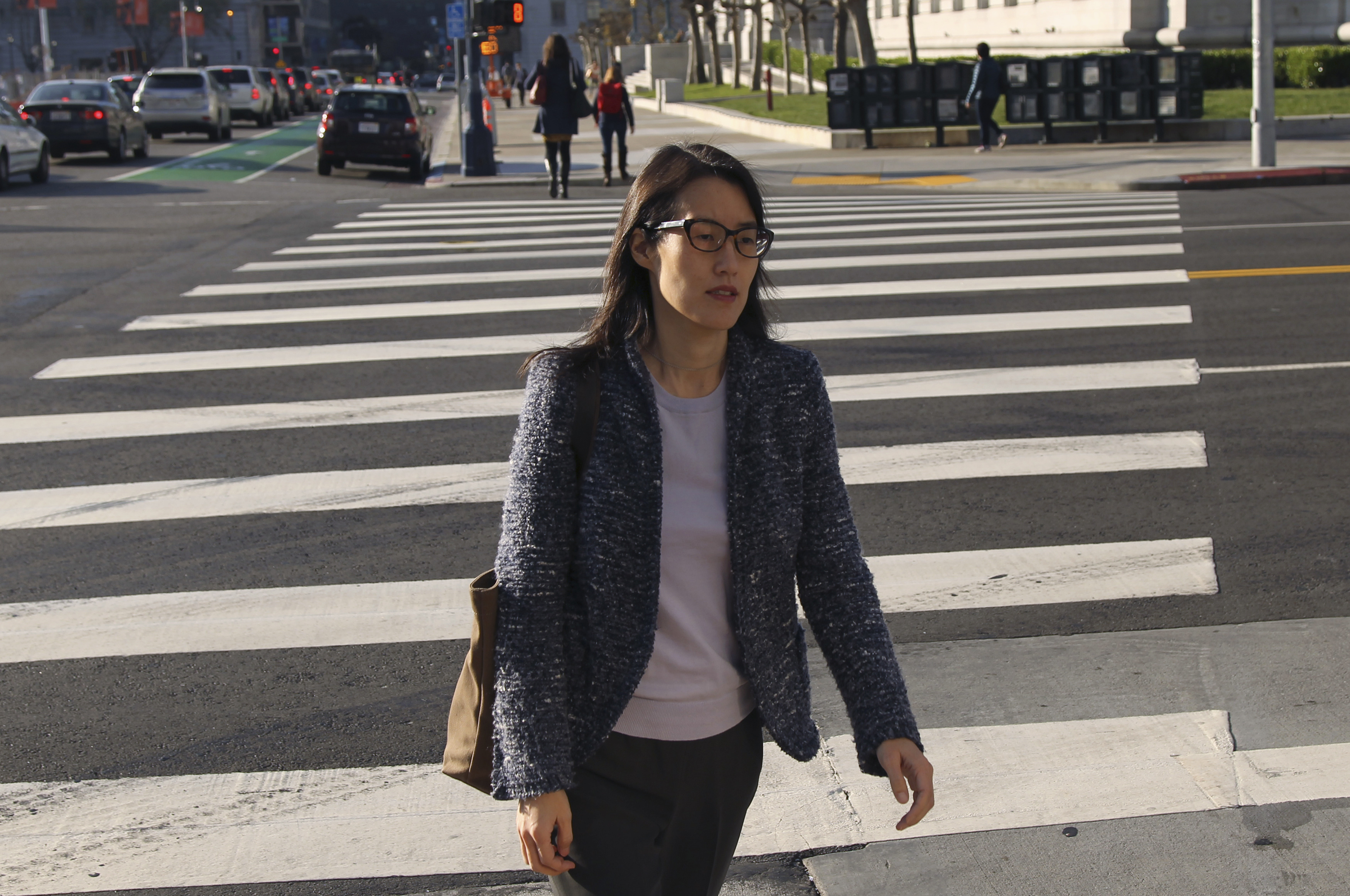 Ellen Pao walks to San Francisco Superior Court in San Francisco