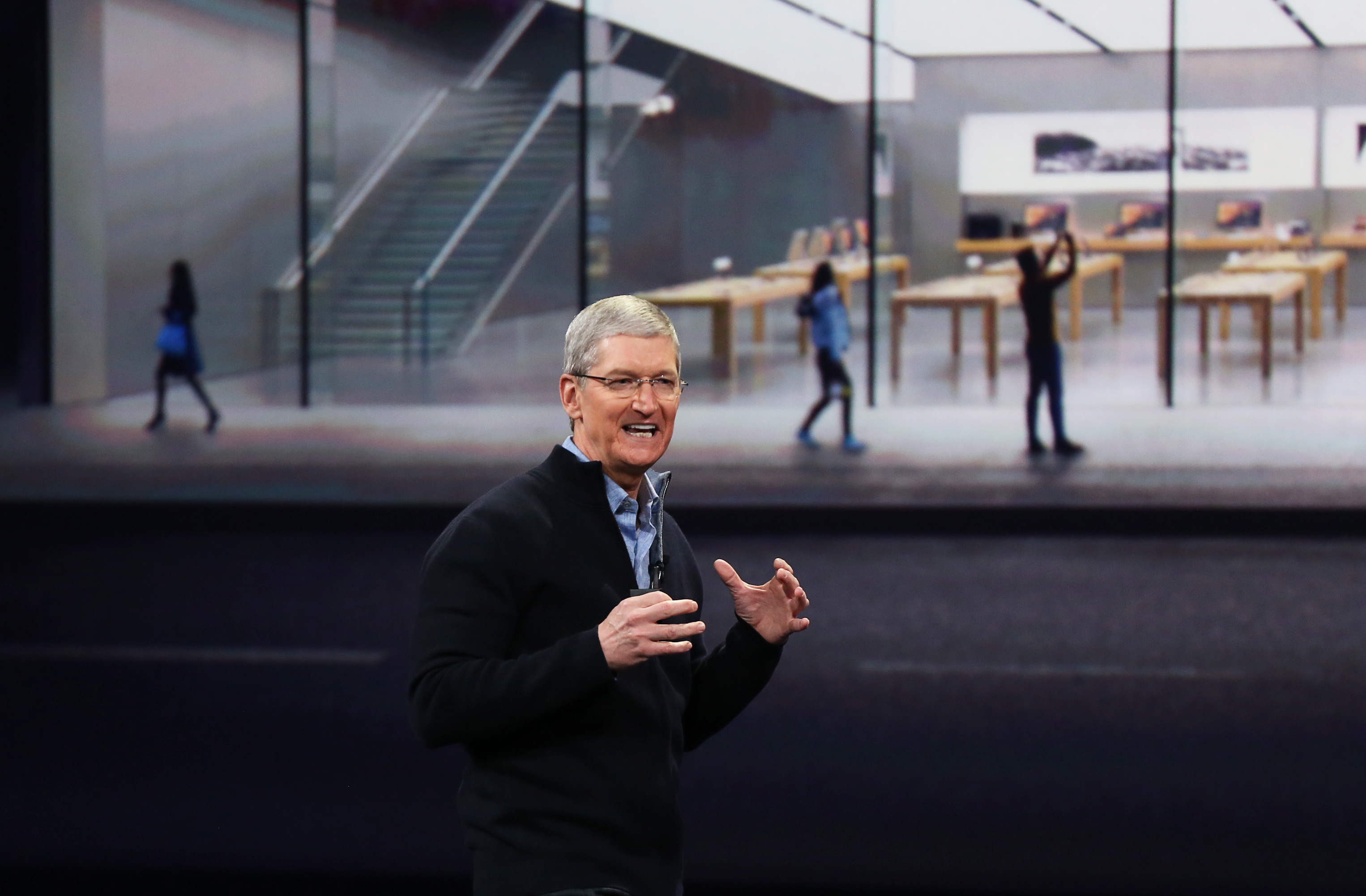 Apple CEO Tim Cook speaks during an Apple event in San Francisco