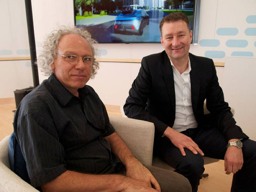 Alex Mankowsky (left), the futurist, and Holger Hutzenlaub (right), the designer, are the architects of Mercedes's vision for mobility in 2030. (Photo by Bradley Berman.)