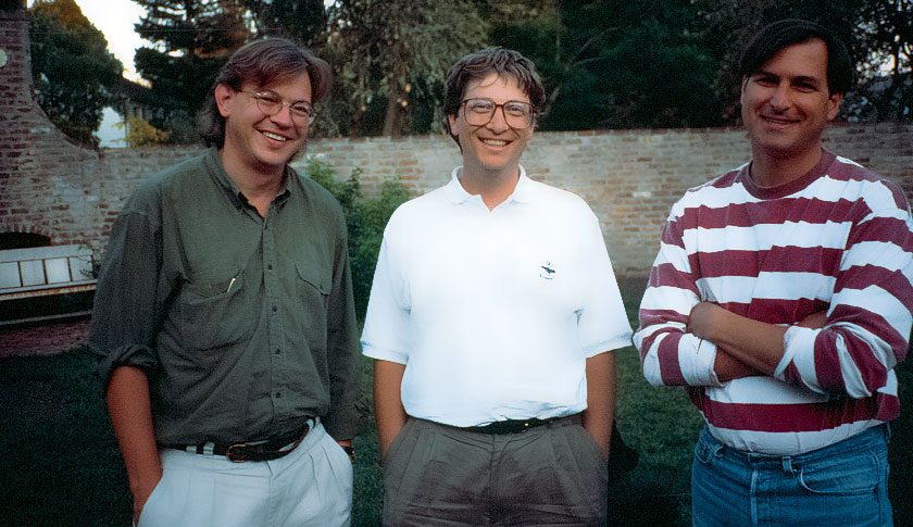Schlender with Bill Gates and Steve Jobs after their 1991 joint interview for Fortune.
