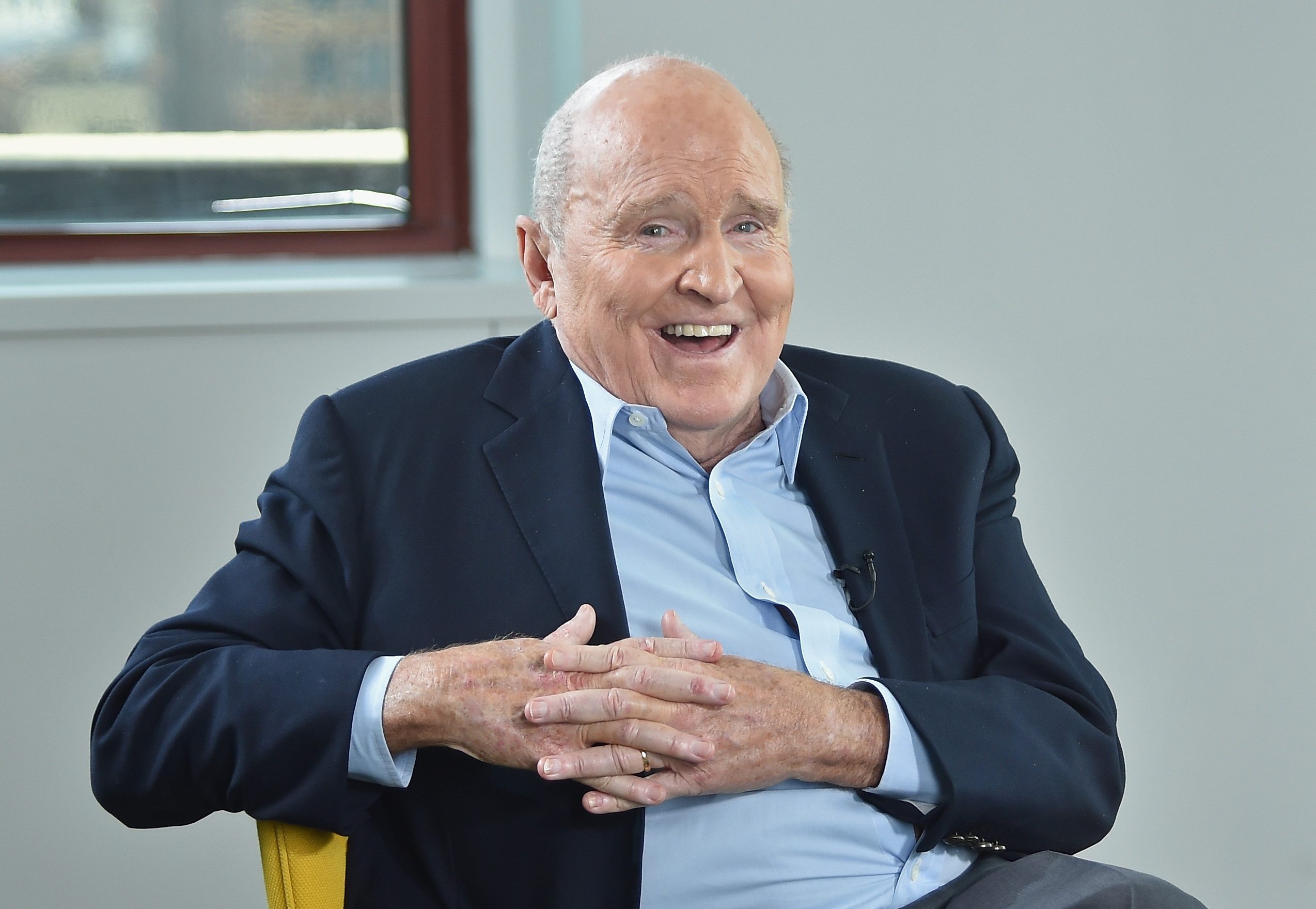 LinkedIn Executive Editor Dan Roth interviews Jack Welch at LinkedIn Studios on March 11, 2015 in New York City.