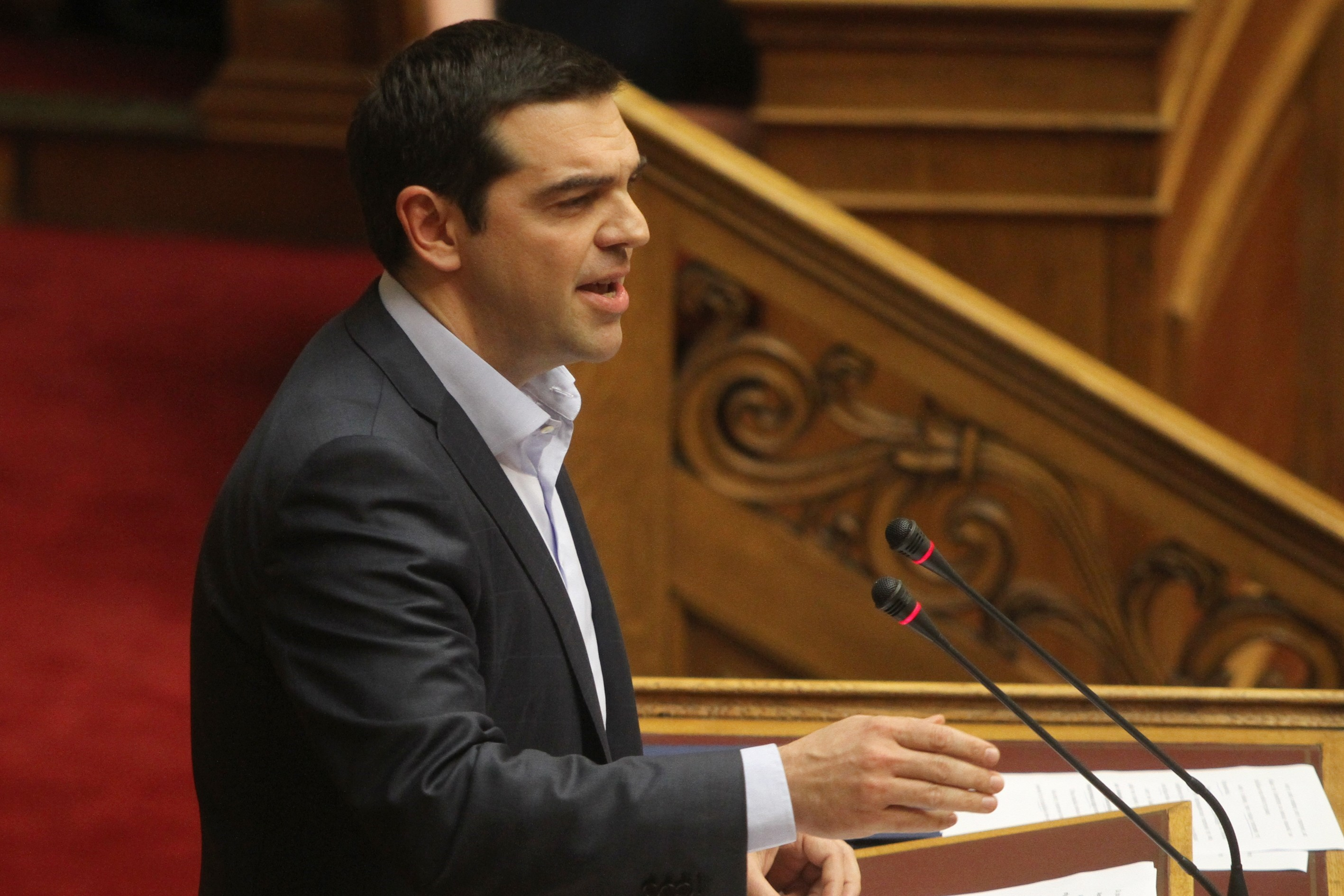 Greek Prime Minister Alexis Tsipras speaks at parliament in Athens