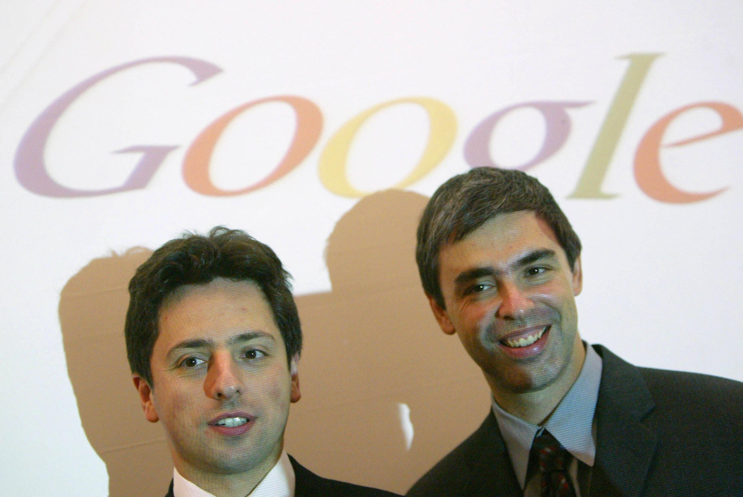 Google founders Sergey Brin (L) and Larr