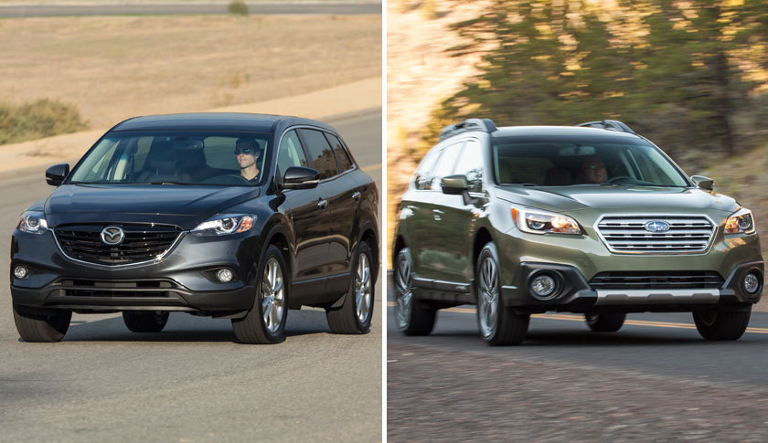 The Mazda CX-9, left and The Subaru Outback