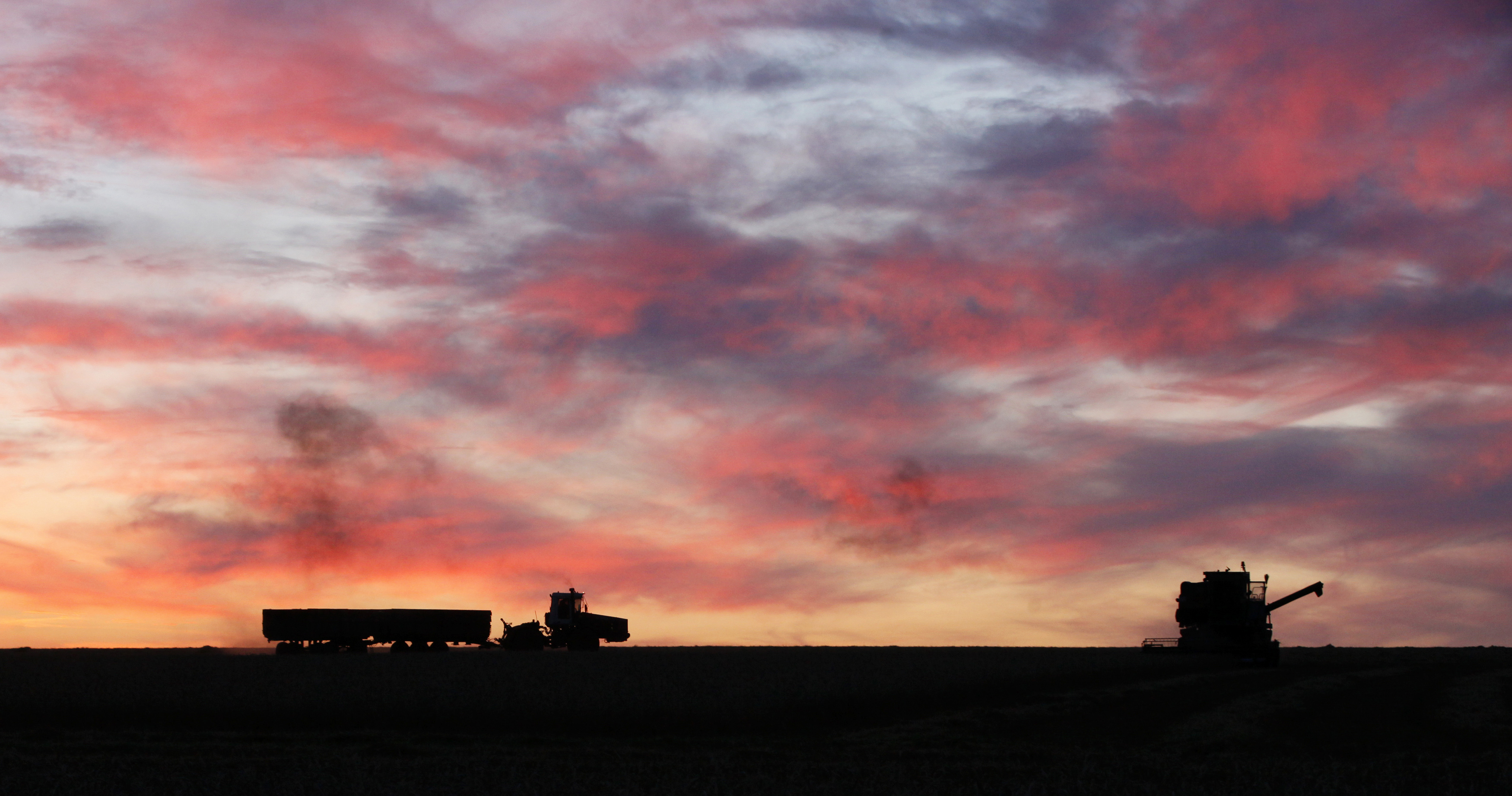 A combine harvester and a tractor with trailers work after sunset on a wheat field at the Solgonskoye farming company in the village of Solgon, southwest from Krasnoyarsk