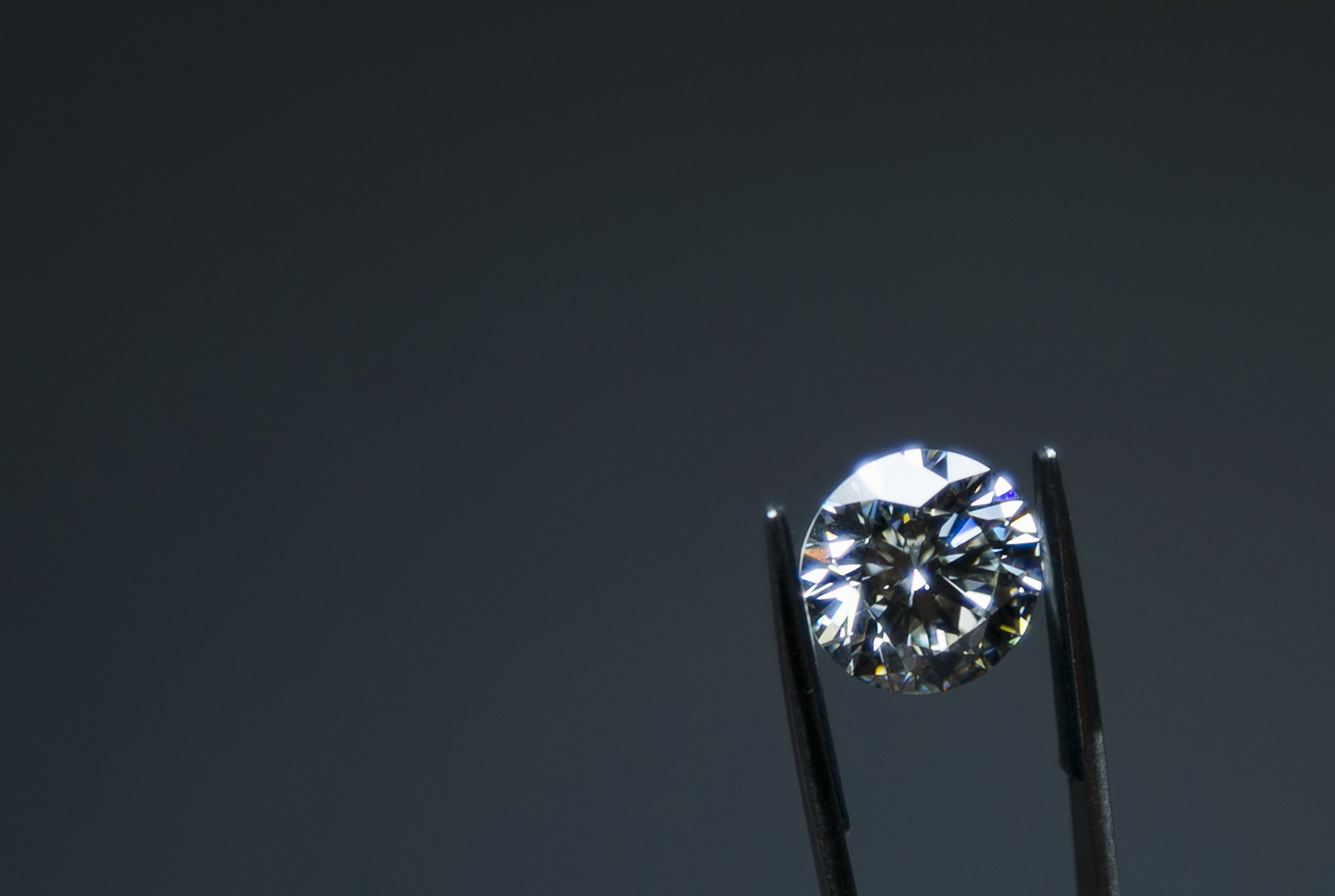 A diamond is displayed at the certification level at the HRD Antwerp Institute of Gemmology at the Antwerp World Diamond Centre
