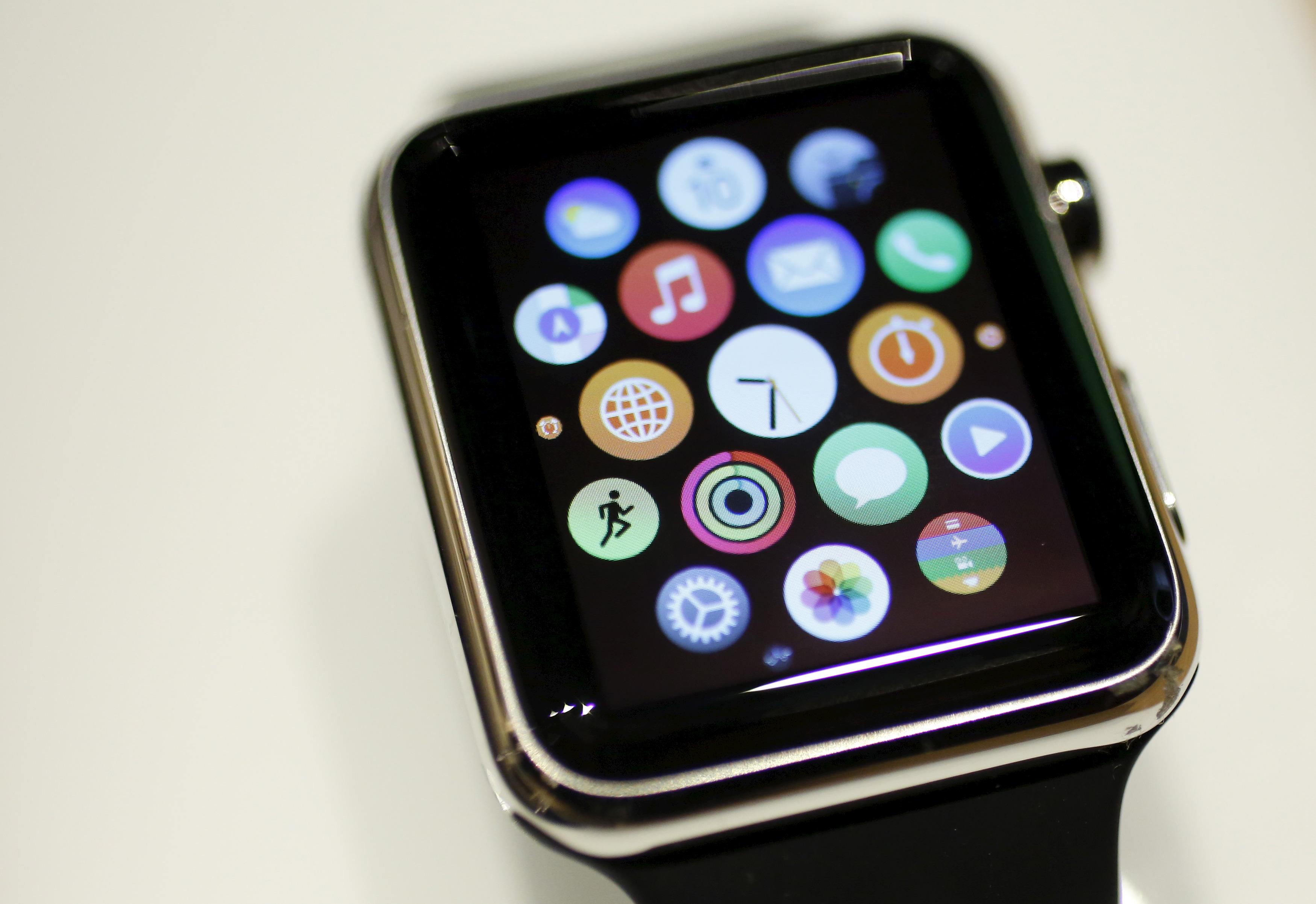 An Apple Watch is displayed at 'Apple Watch at Isetan Shinjuku' inside Isetan Shinjuku department store in Tokyo