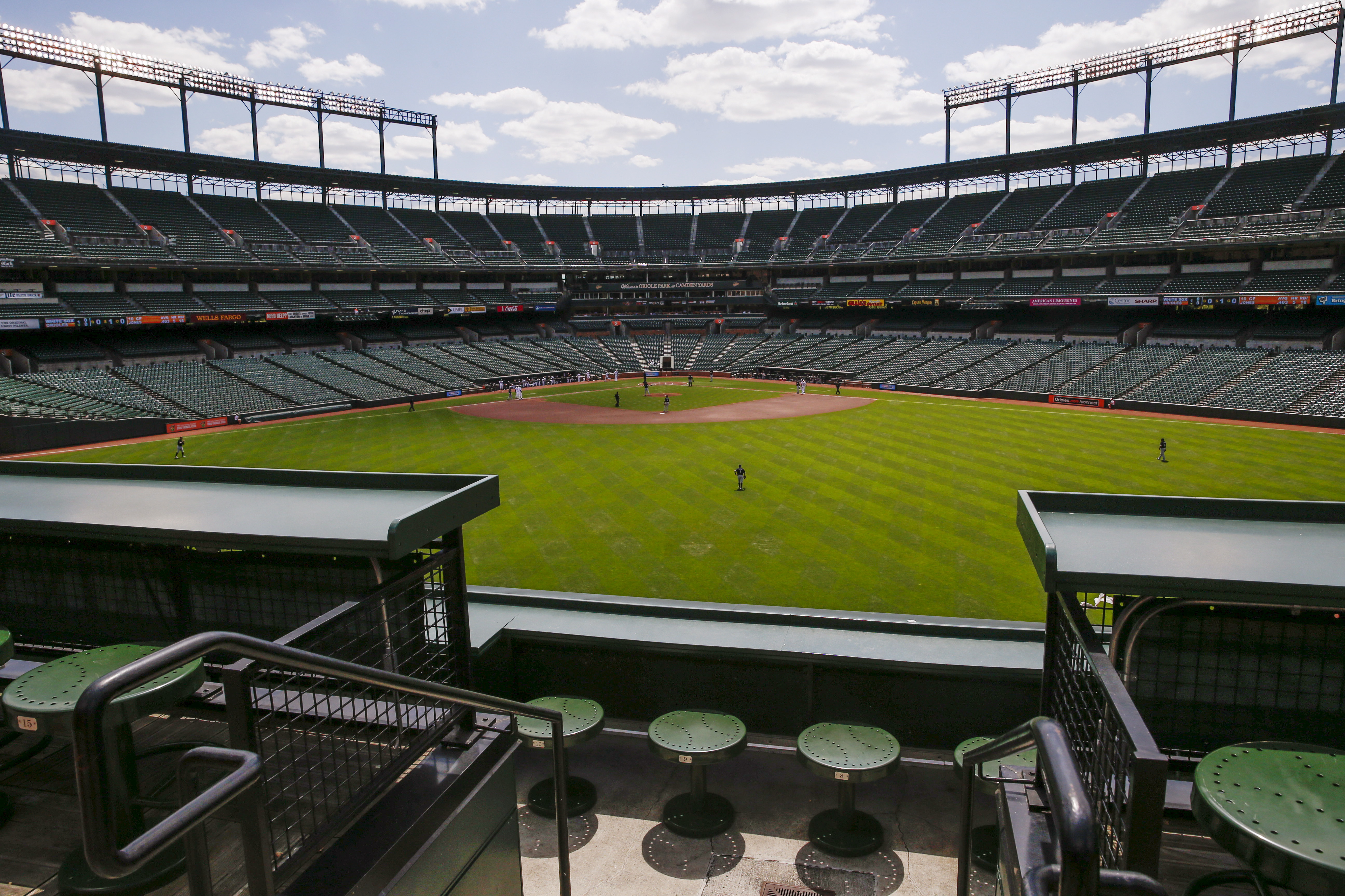 Camden Yards ballpark sits empty of fans during the Baltimore Orioles against Chicago White Sox American League baseball game in Baltimore, Maryland