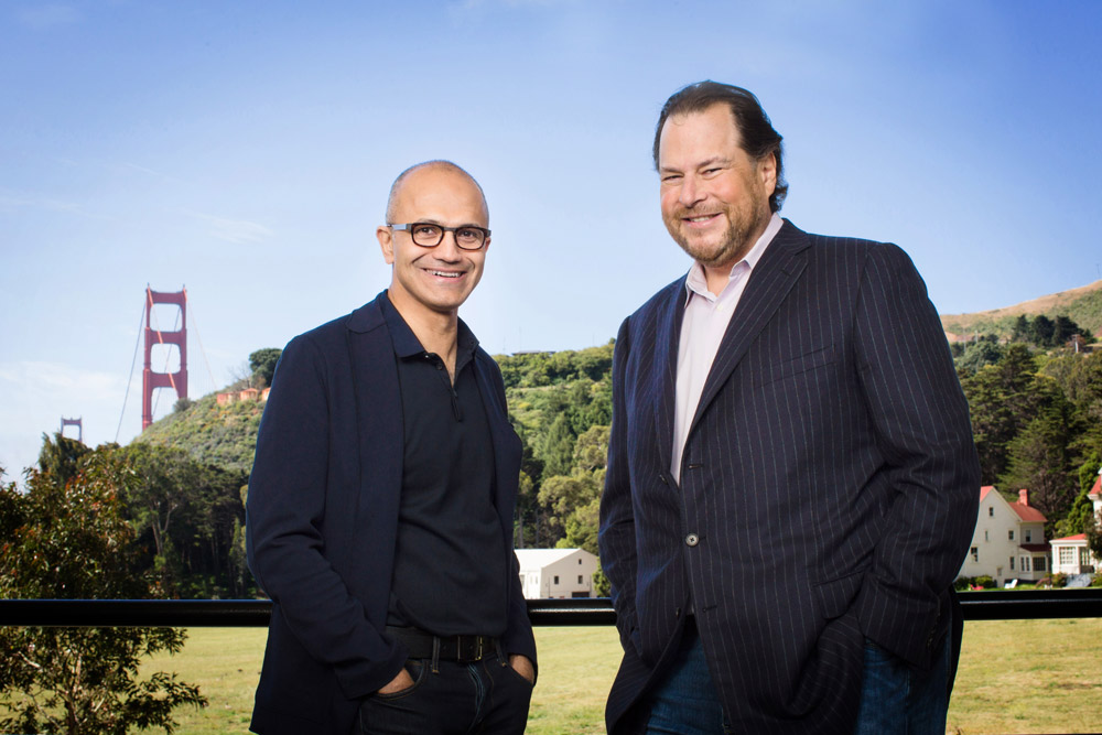 Microsoft CEO Satya Nadella and Salesforce CEO Marc Benioff.