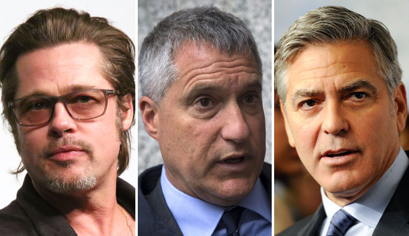 Brad Pitt, left, Steven Donziger, and George Clooney.