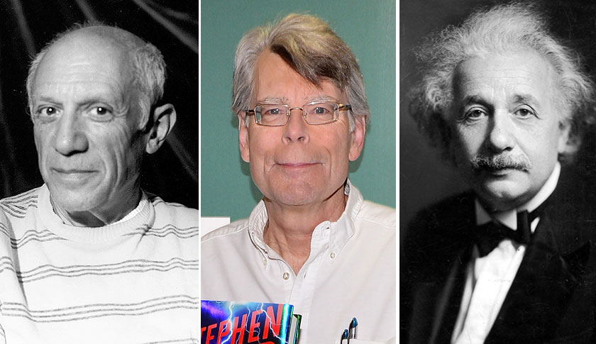 Pablo Picasso, left, Stephen King and Albert Einstein.