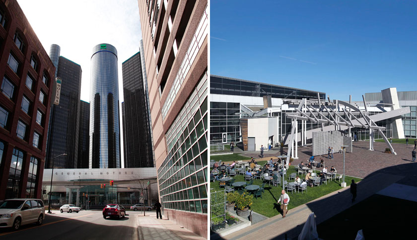 General Motors headquarters in Detroit, Michigan, left and Google headquarters in Mountain View, California.