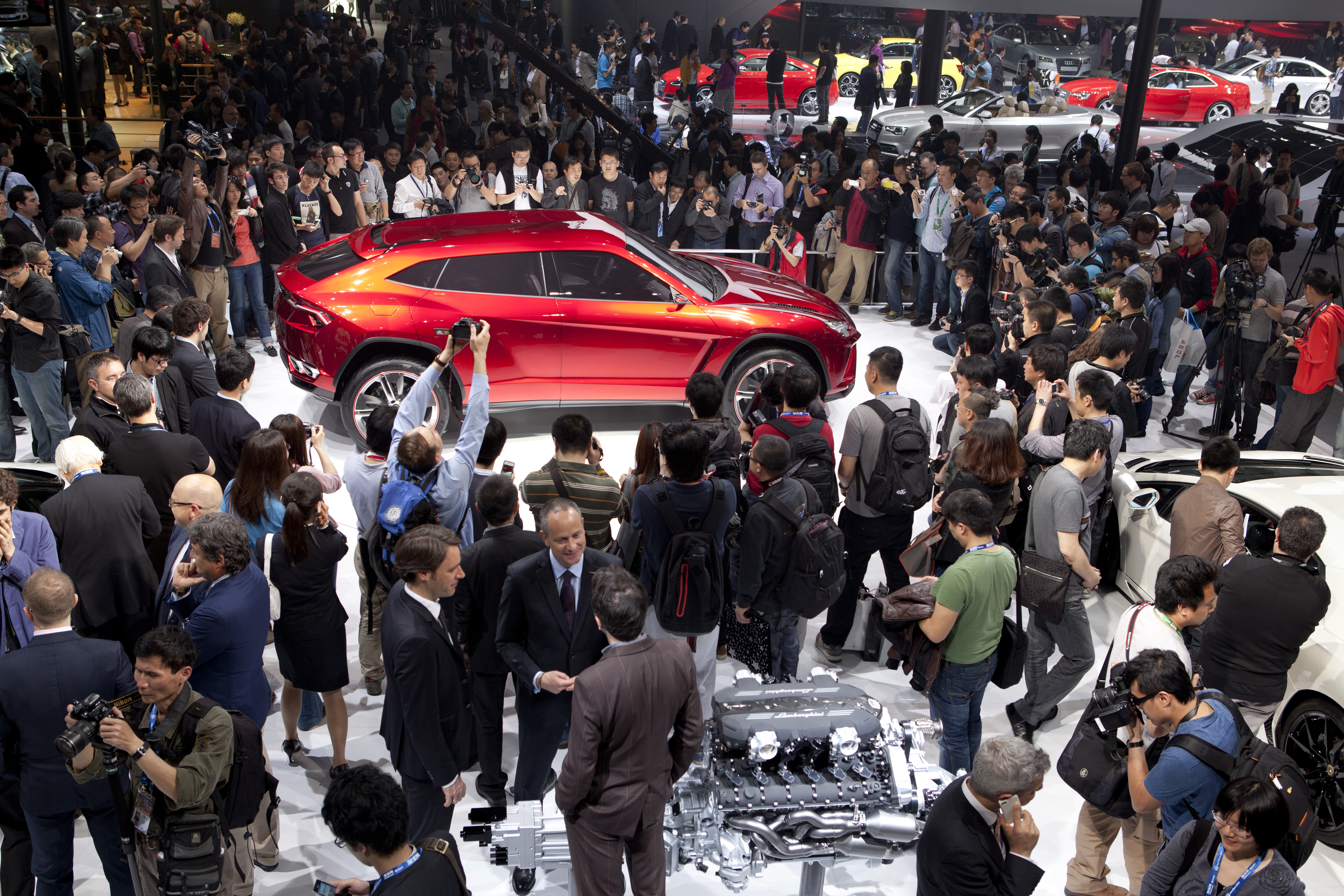 Lamborghini President and CEO, Stephan Winkelmann, launches the new Lamborghini Urus at the Beijing Auto Show in Beijing, China, April 23, 2012.