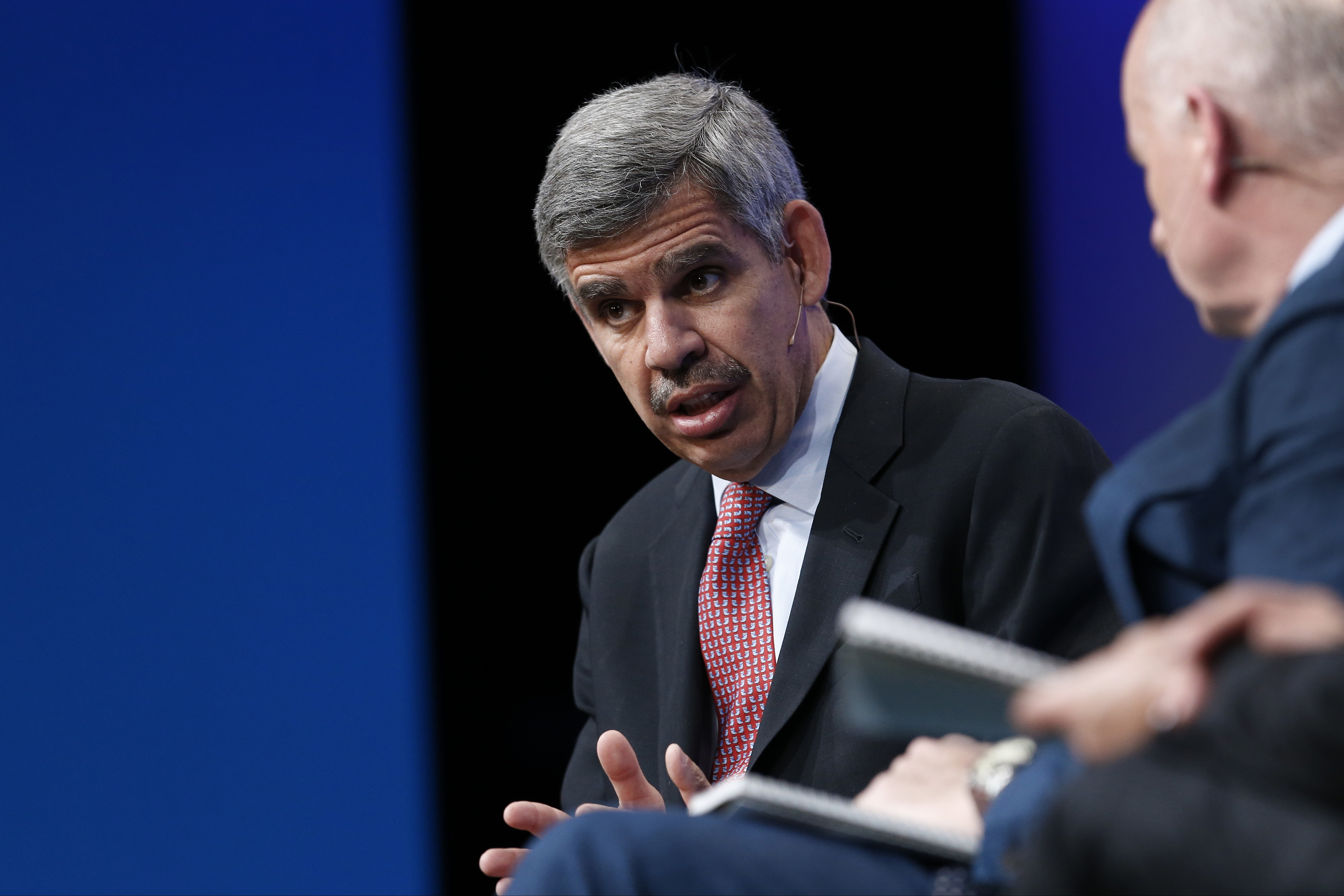 Mohamed El-Erian, chief economic advisor at Allianz SE, speaks during the annual Milken Institute Global Conference in Beverly Hills, California, U.S., on Monday, April 27, 2015. The conference brings together hundreds of chief executive officers, senior government officials and leading figures in the global capital markets for discussions on social, political and economic challenges. Photographer: Patrick T. Fallon/Bloomberg *** Local Caption *** Mohamed El-Erian